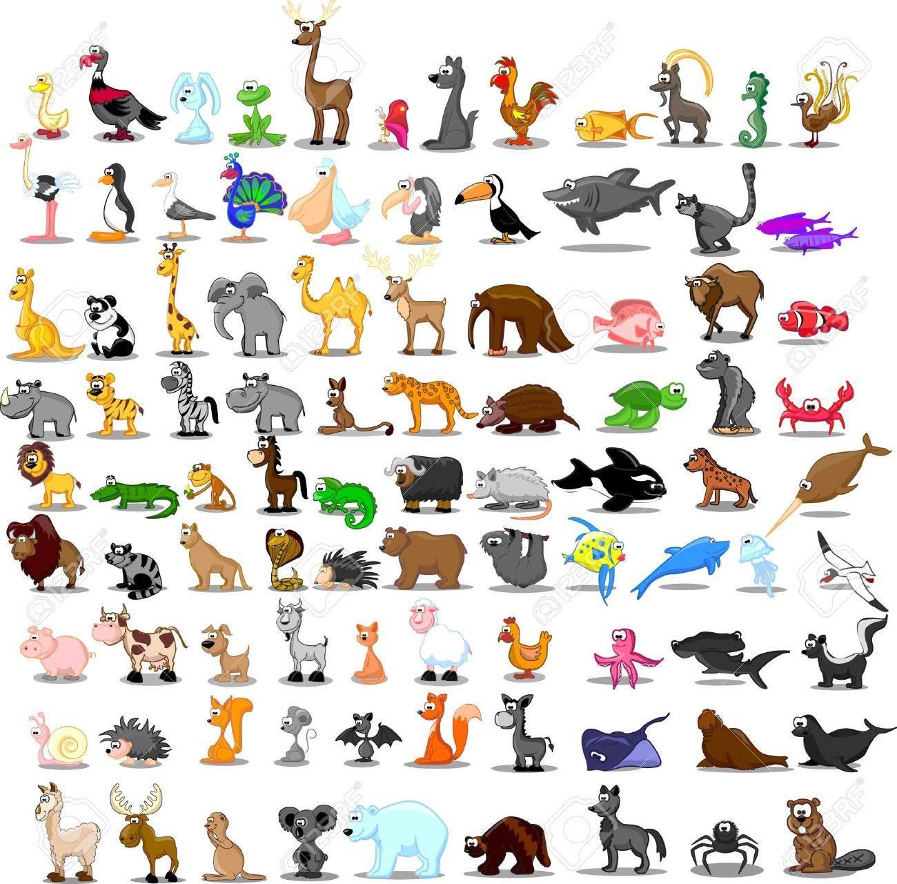 Super set of cute cartoon animals - 27255847