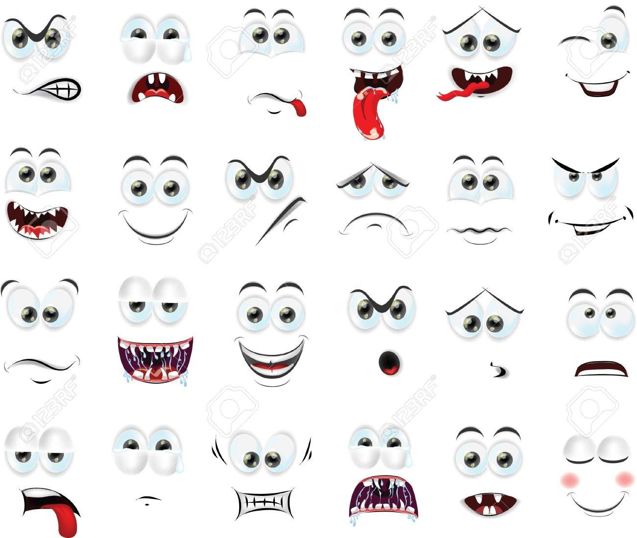Cartoon faces with emotions - 28600519