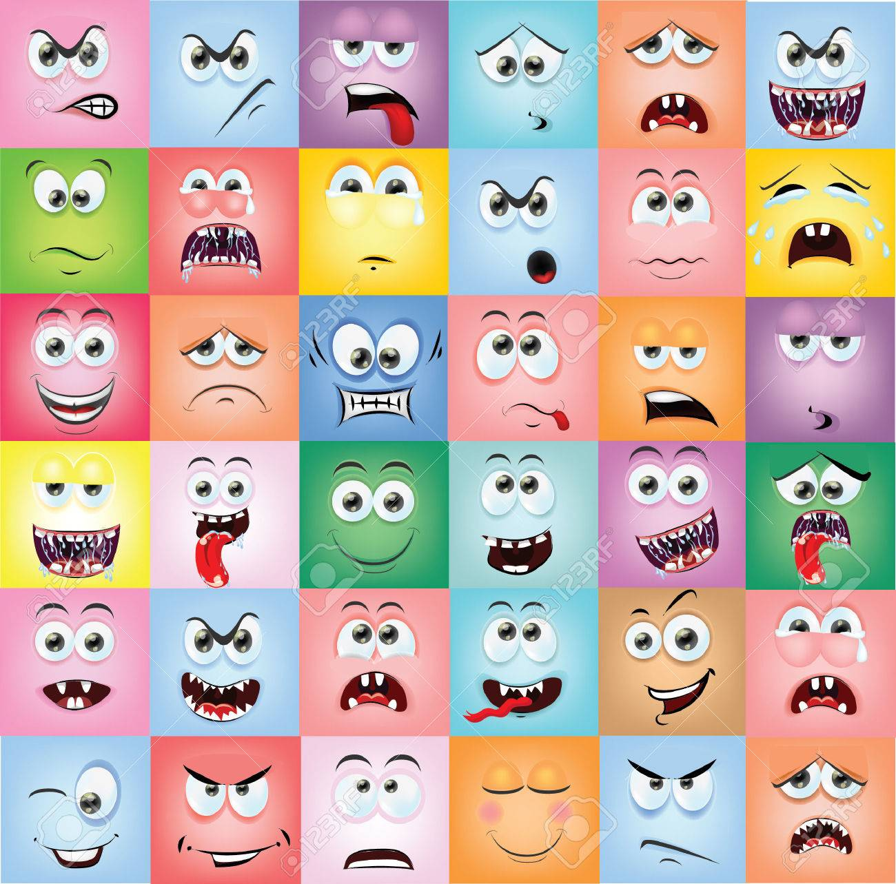 Cartoon faces with emotions - 33242232