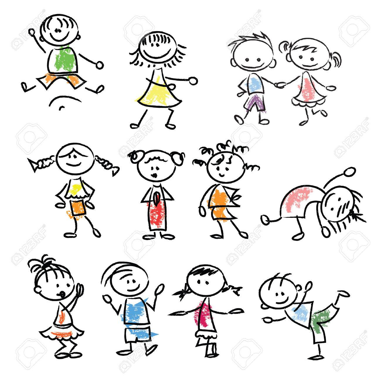 Nette Glückliche Karikatur Doodle Kinder Lizenzfrei Nutzbare