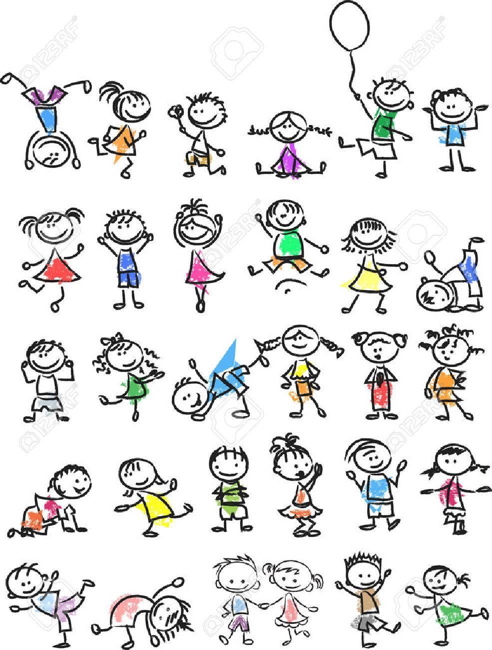 Cute happy cartoon doodle kids - 33650209