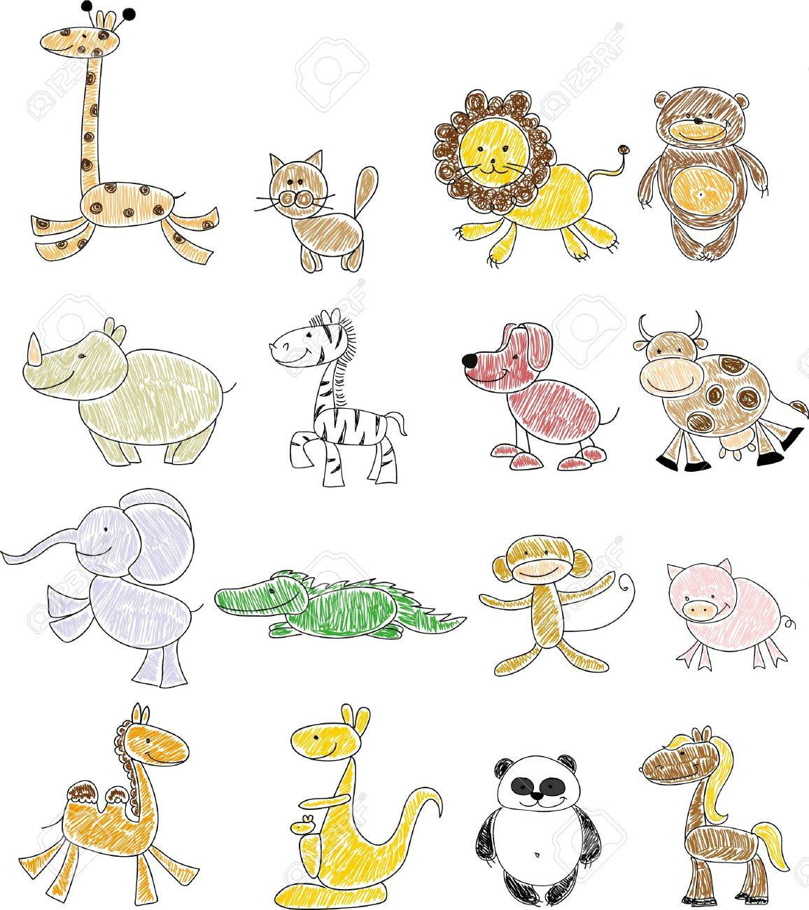 Animal drawings for children - Children S Drawings Of Doodle Animals Stock Vector 35099502