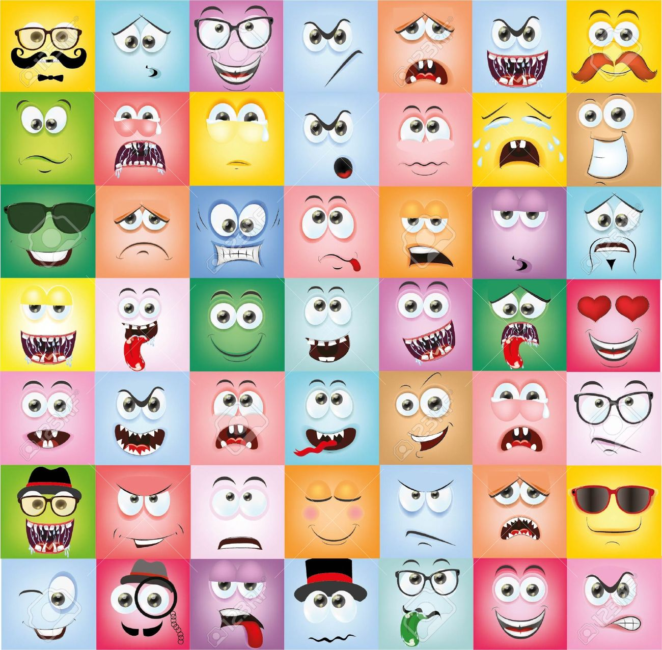 Set of cartoon faces with different emotions - 35863333