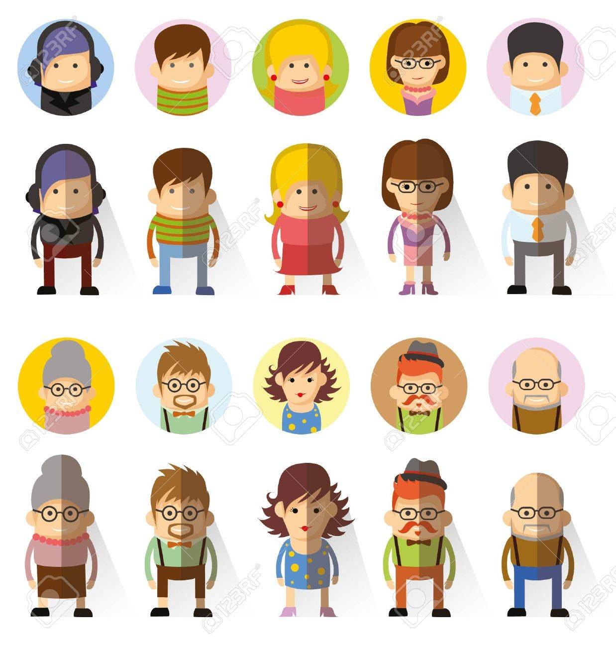 avatar character design set of vector cute character avatar icons in flat design