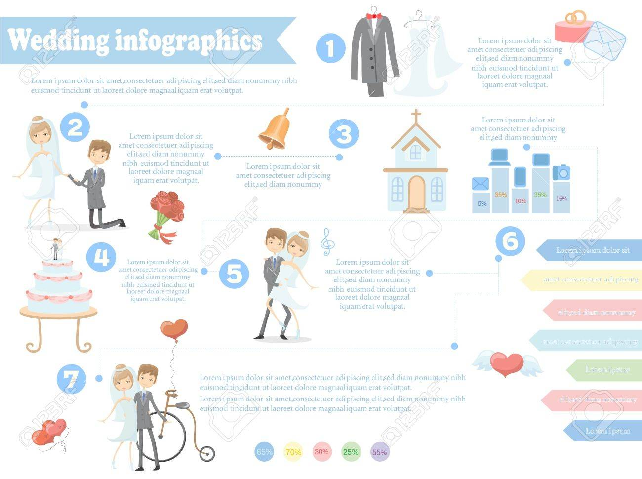 Wedding Infographics Including Template Design Elements Royalty