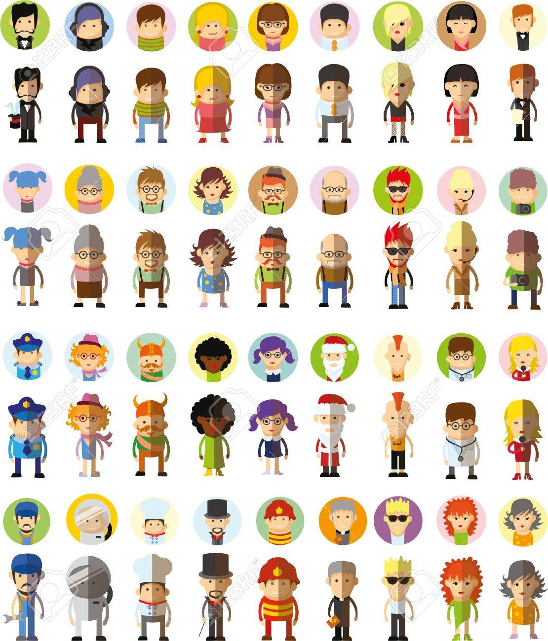Set of cute character avatar icons in flat design - 40004922