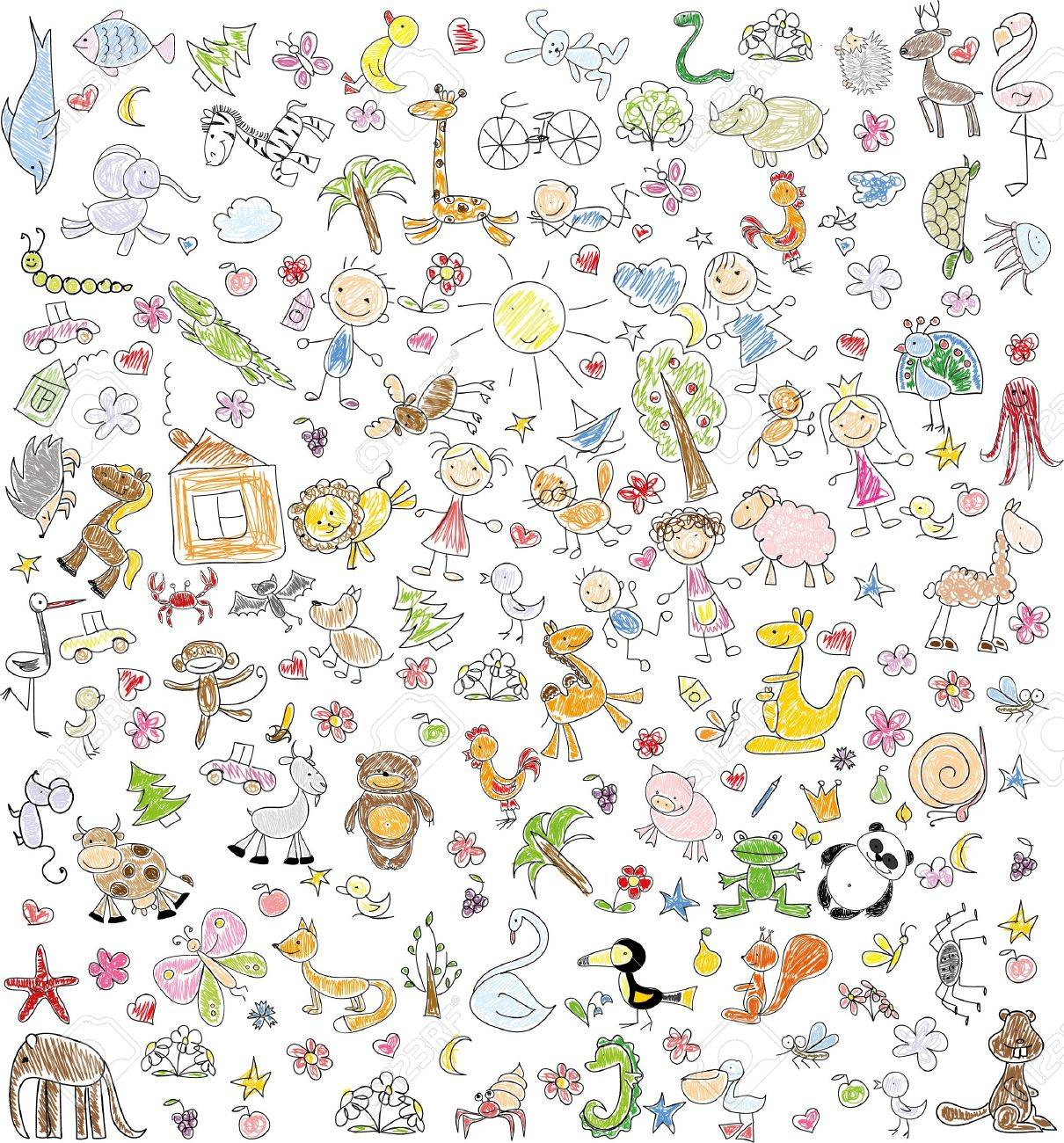 Children's drawings of doodle family, animals, people - 47853635