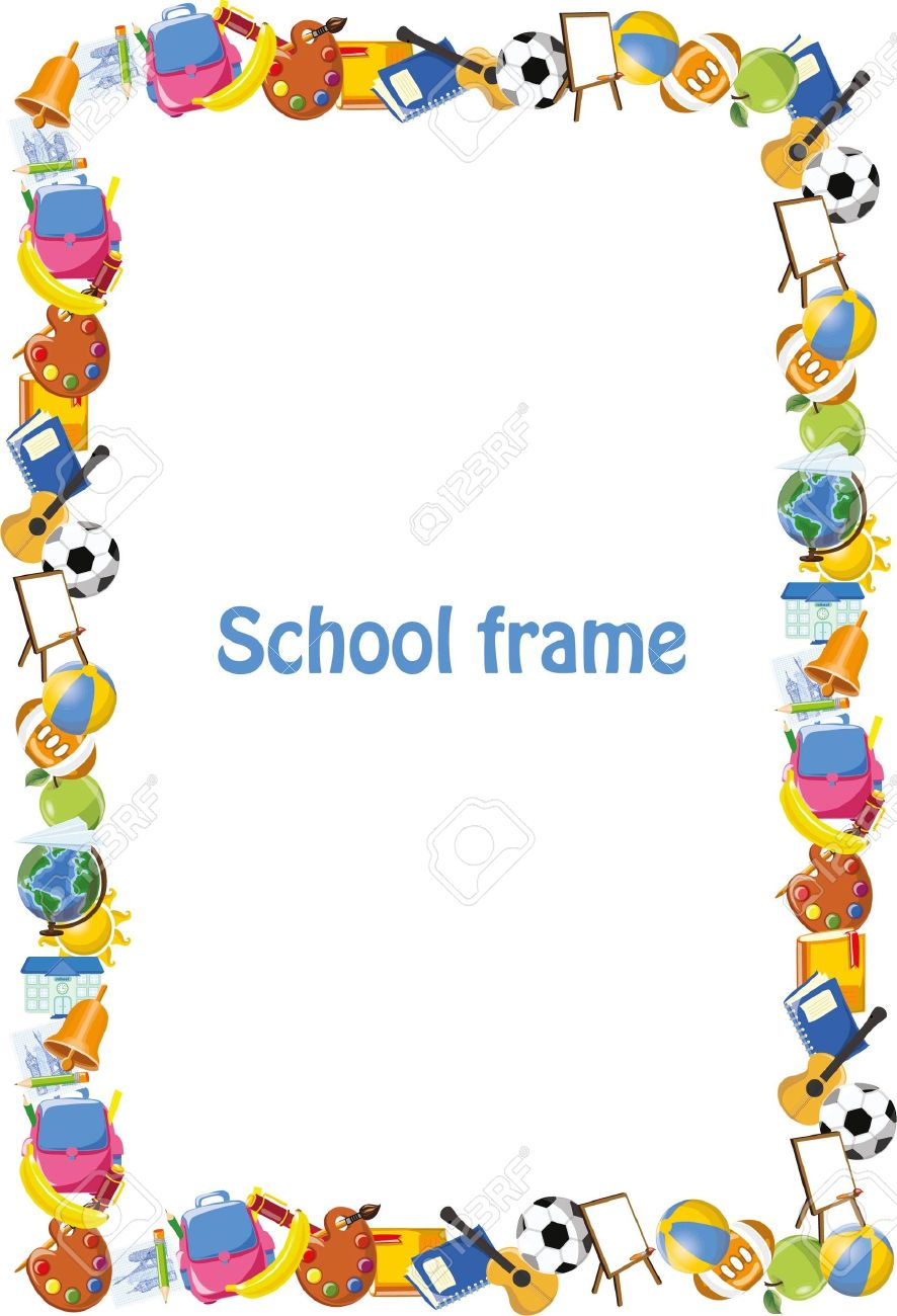 Cartoon Students And School Stuffs, Banner Frame Royalty Free ...