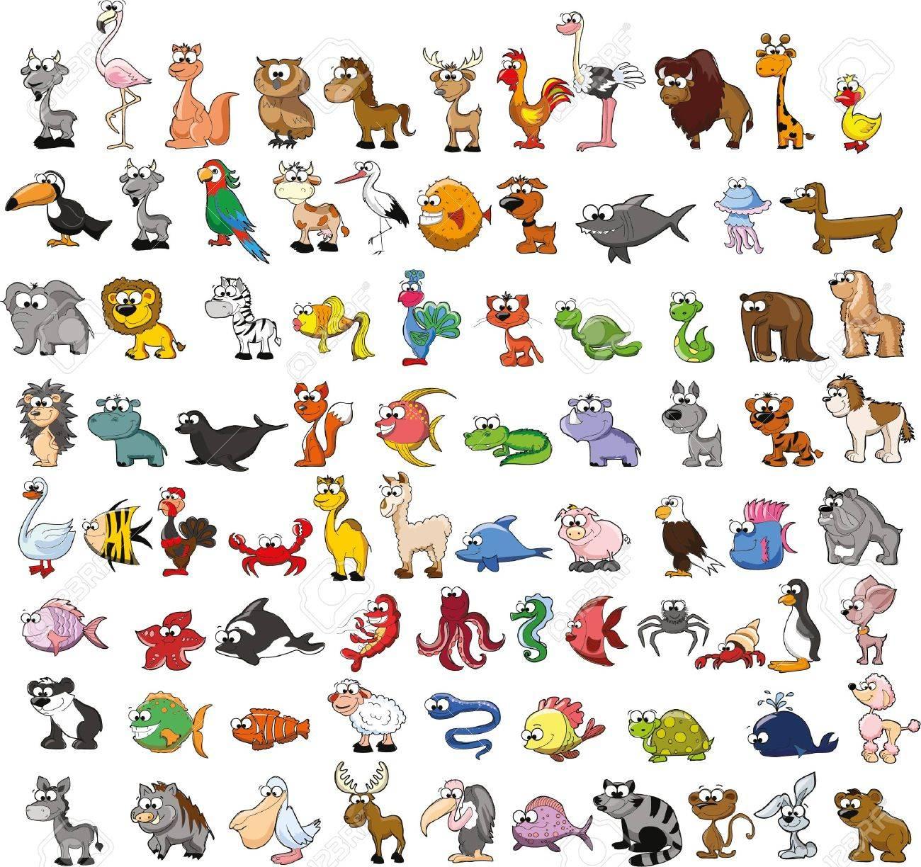 Set of cute cartoon animals - 49421733