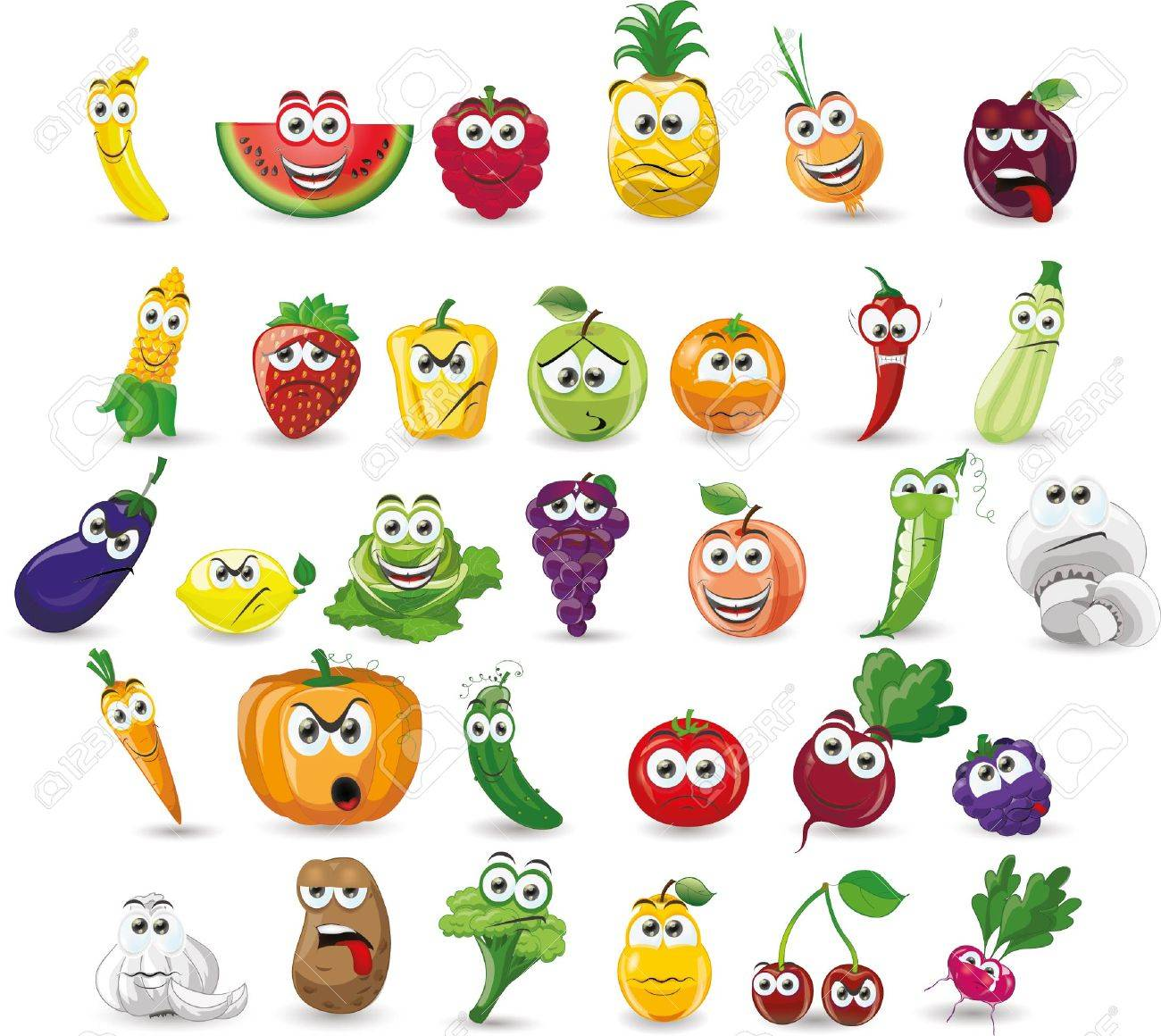 Cartoon vegetables and fruits - 50404616