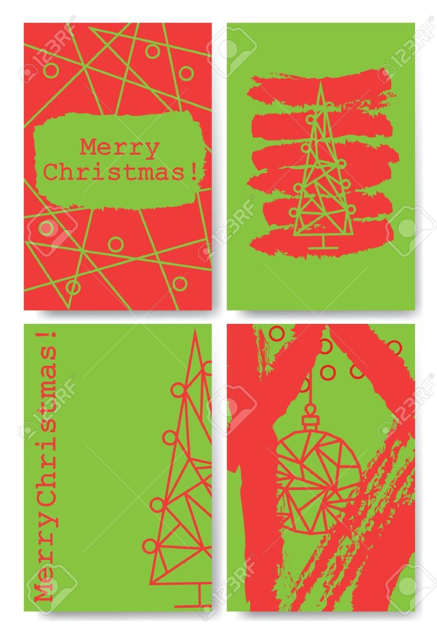 Colección De 4 Plantillas De Tarjetas De Navidad Ilustraciones ...