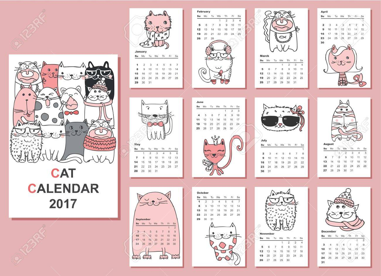 calendar 2017 cute cats for every month royalty free cliparts