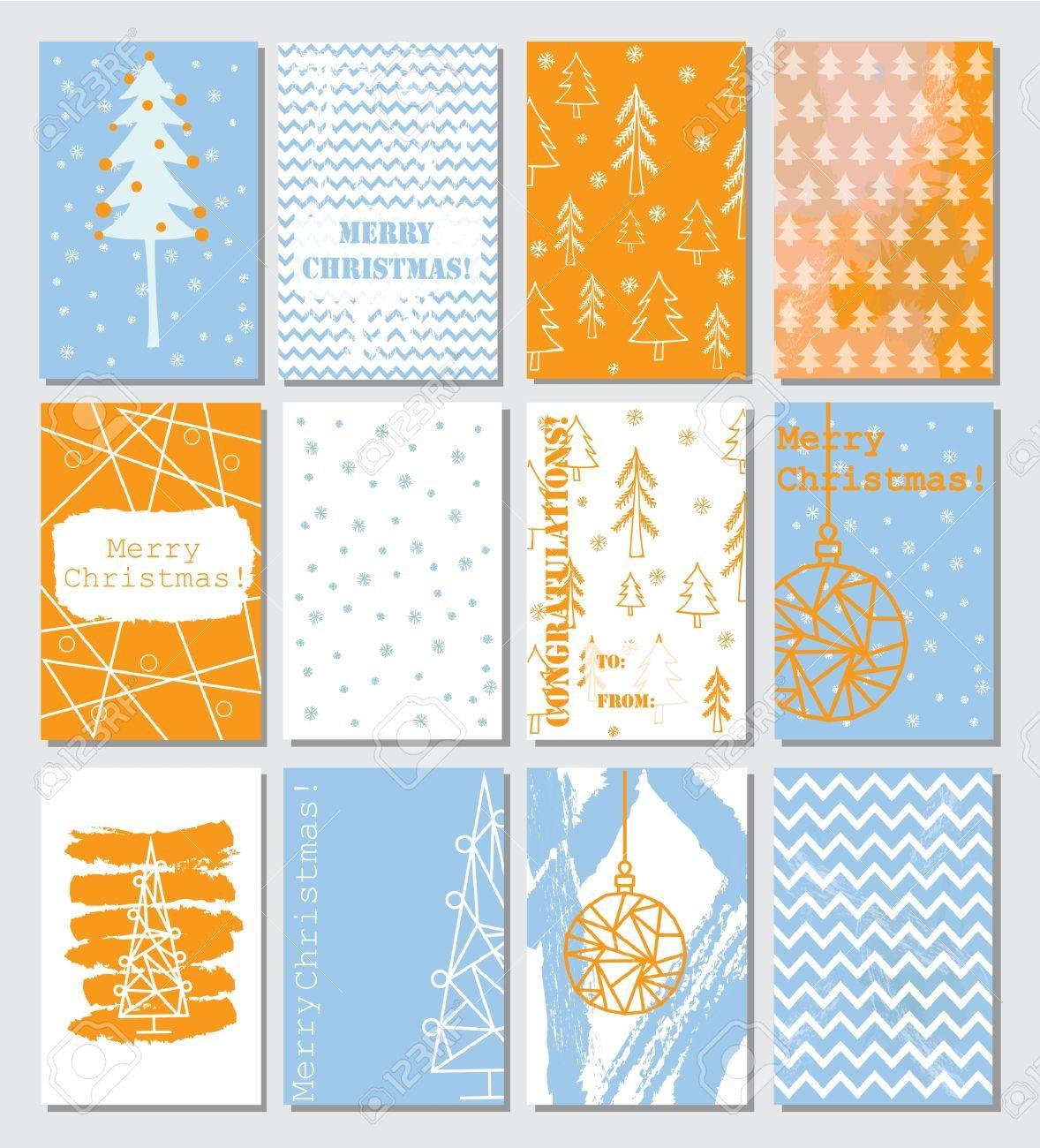Colección De 12 Plantillas De Tarjetas De Navidad. Ilustraciones ...