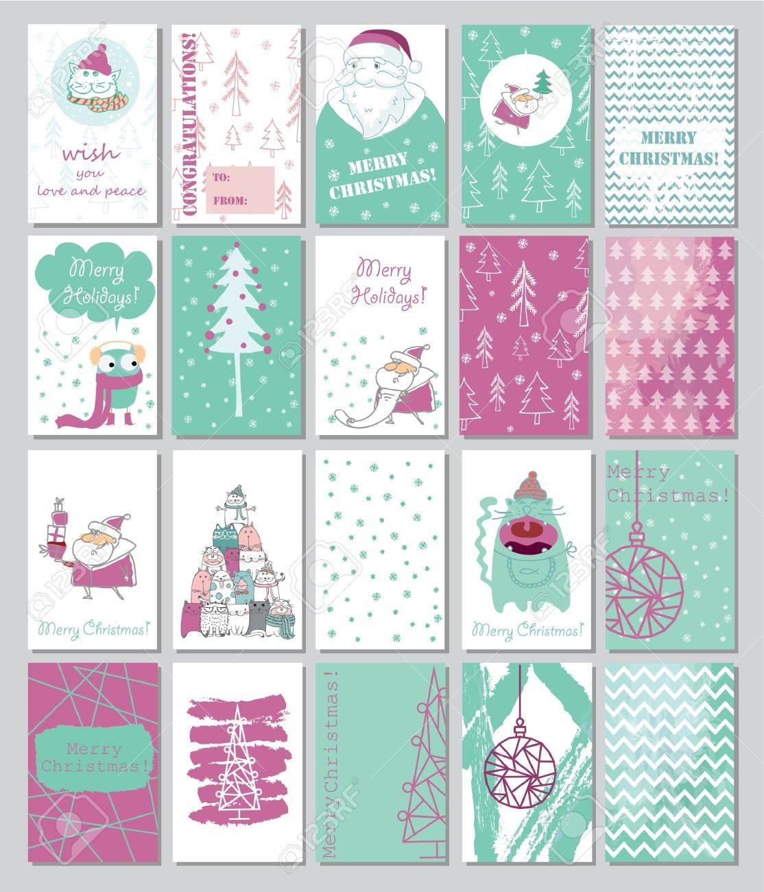 Colección De 20 Plantillas De Tarjetas De Navidad. Ilustraciones ...