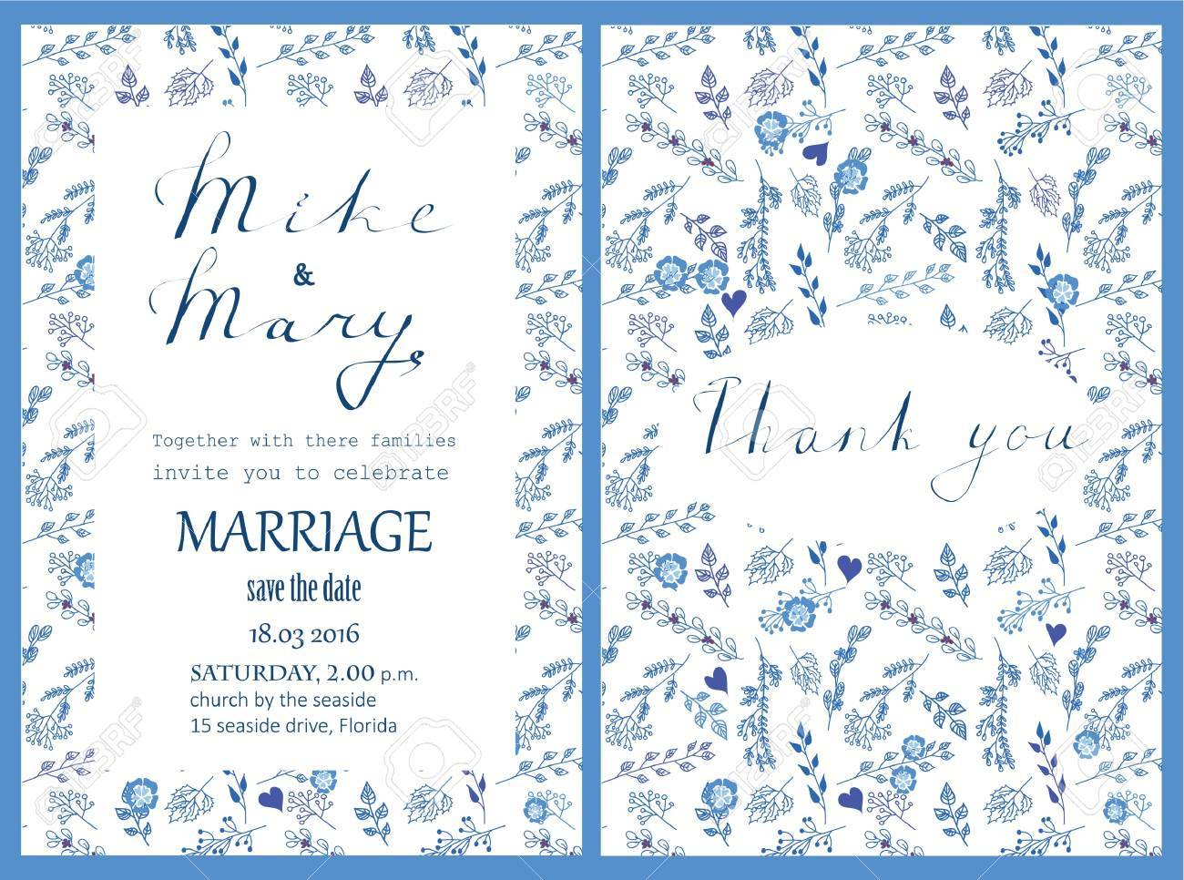 Doodle Line Design Of Wedding Invitation Royalty Free Cliparts
