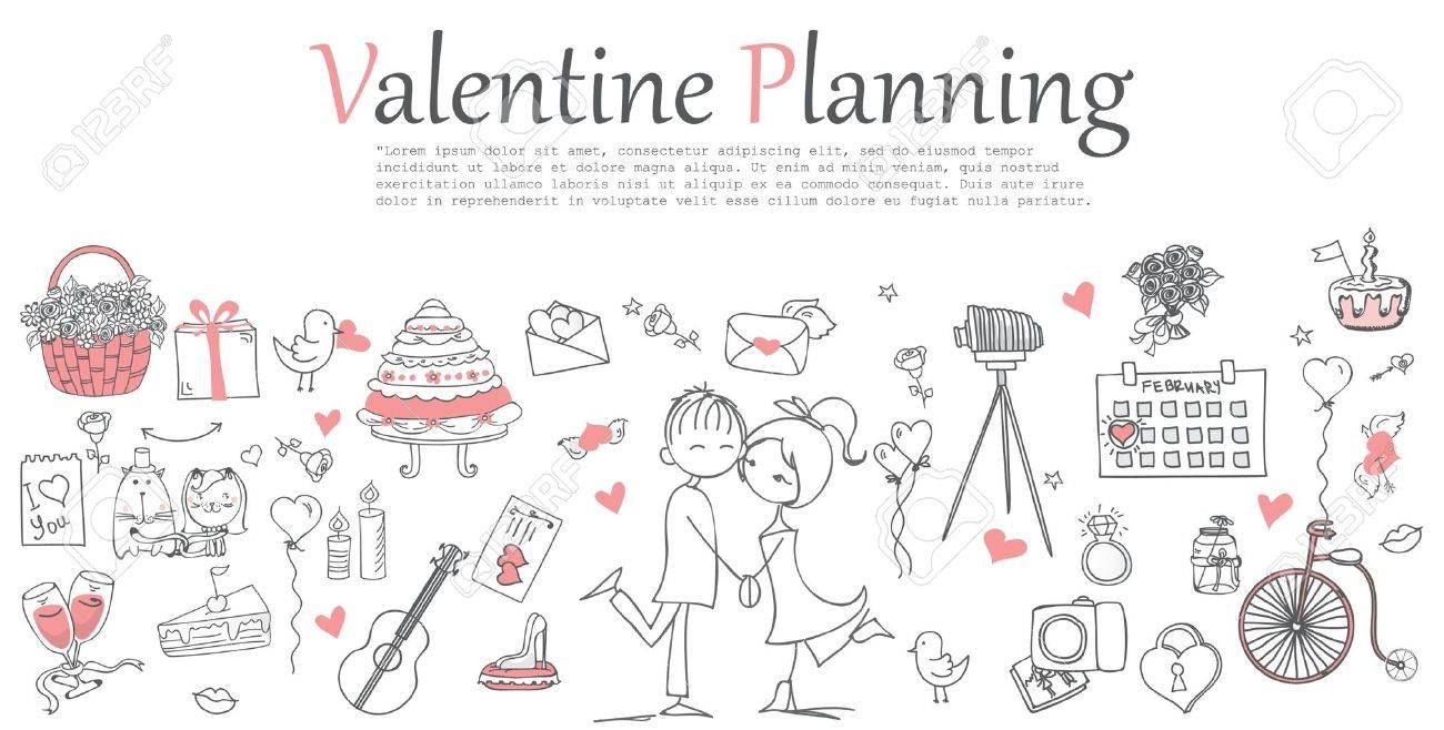 Valentine Doodle line design of web banner templates - 67671415