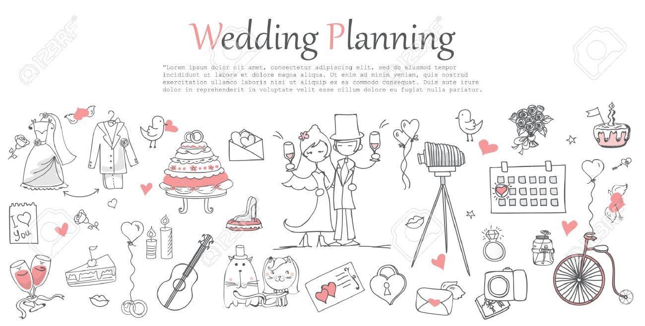 Doodle line design of web banner template - 67671423