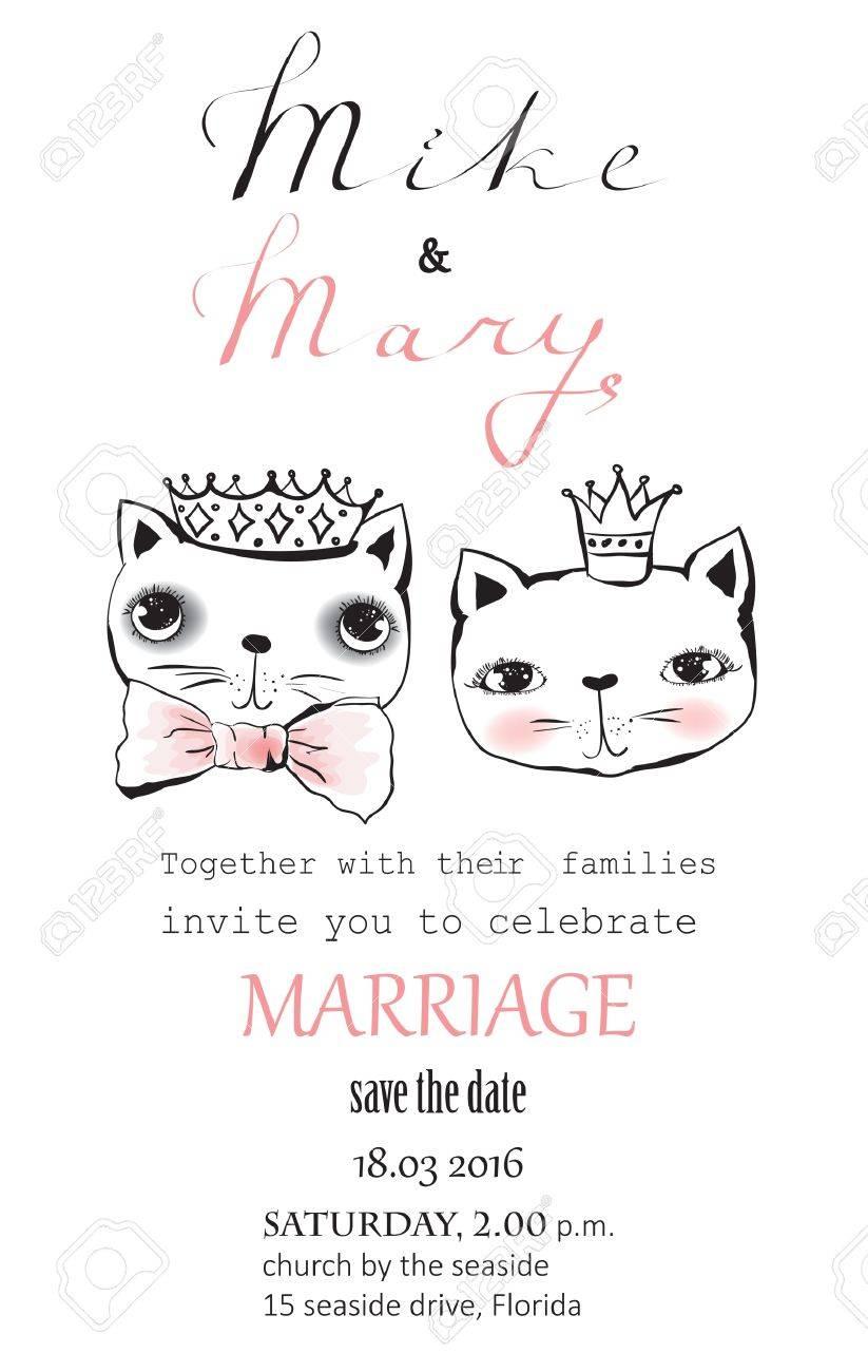 Cartoon Hochzeit Bild Für Die Einladung Mit Niedlichen Katzen Standard Bild    67671702