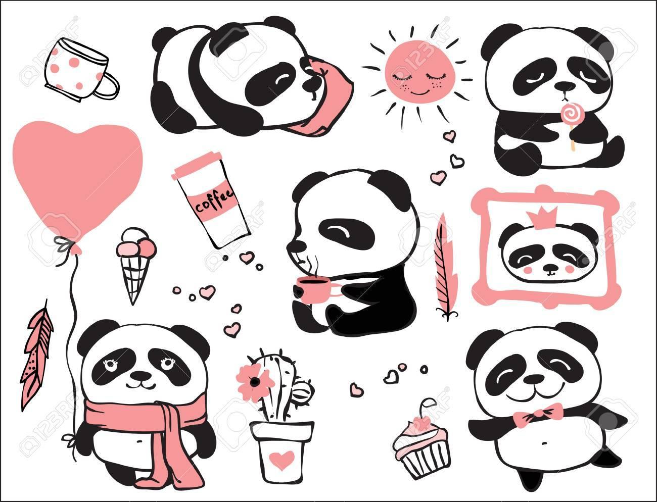 panda doodle kid set simple design of cute pandas royalty free