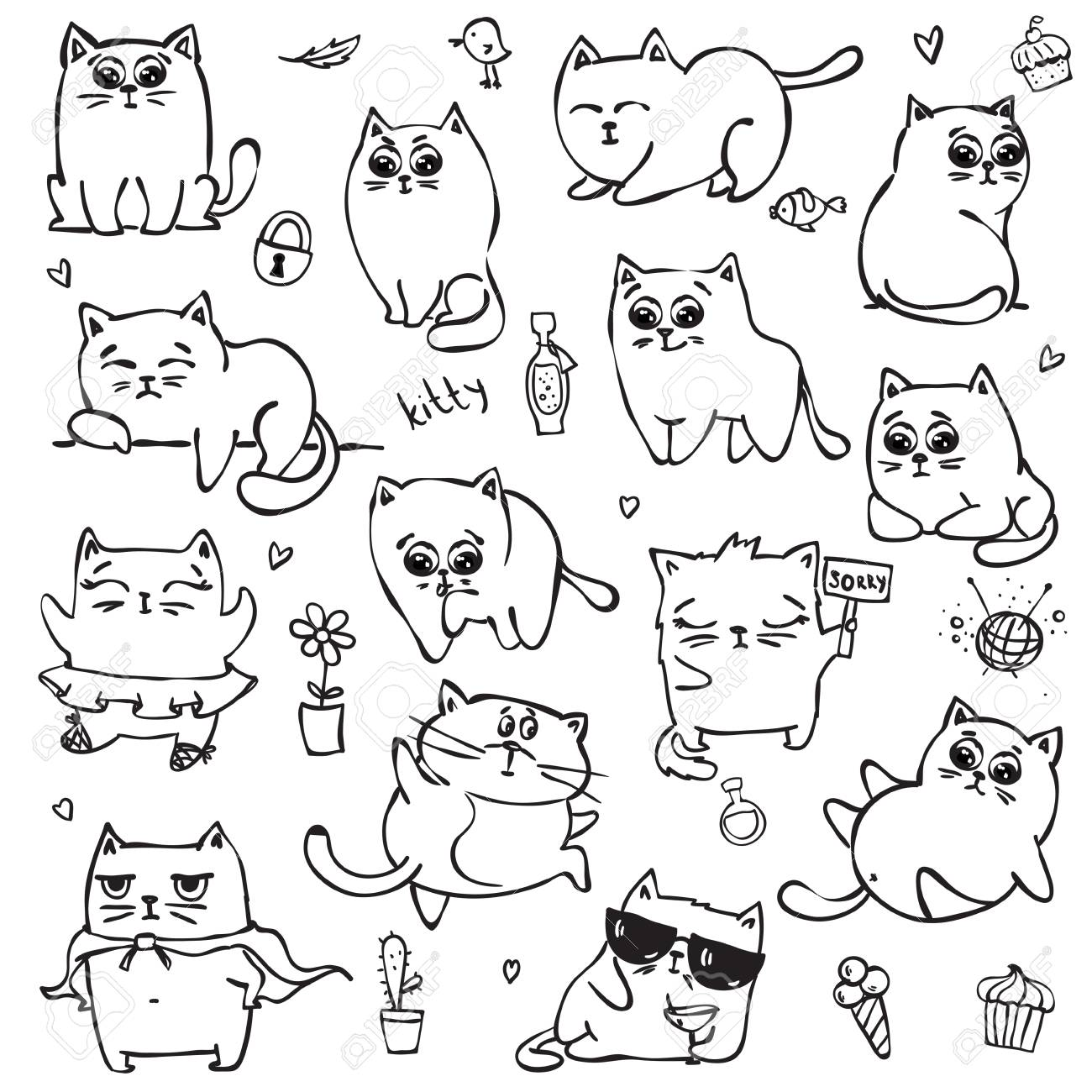 Vector Set With Black And White Doodle Cute Cats For Greeting Royalty Free Cliparts Vectors And Stock Illustration Image 89922272
