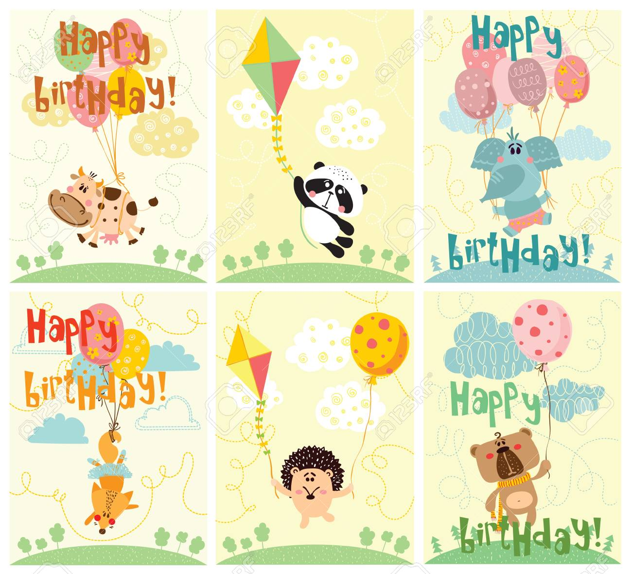 Vector Greeting Cards With Cute Animals And Happy Birthday Text
