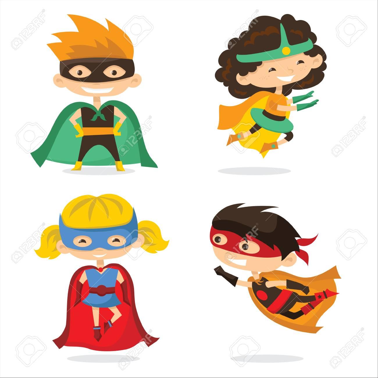 Ilustración De Vector De Dibujos Animados De Niños Superhéroes  Ilustraciones Vectoriales, Clip Art Vectorizado Libre De Derechos. Image  91873576.