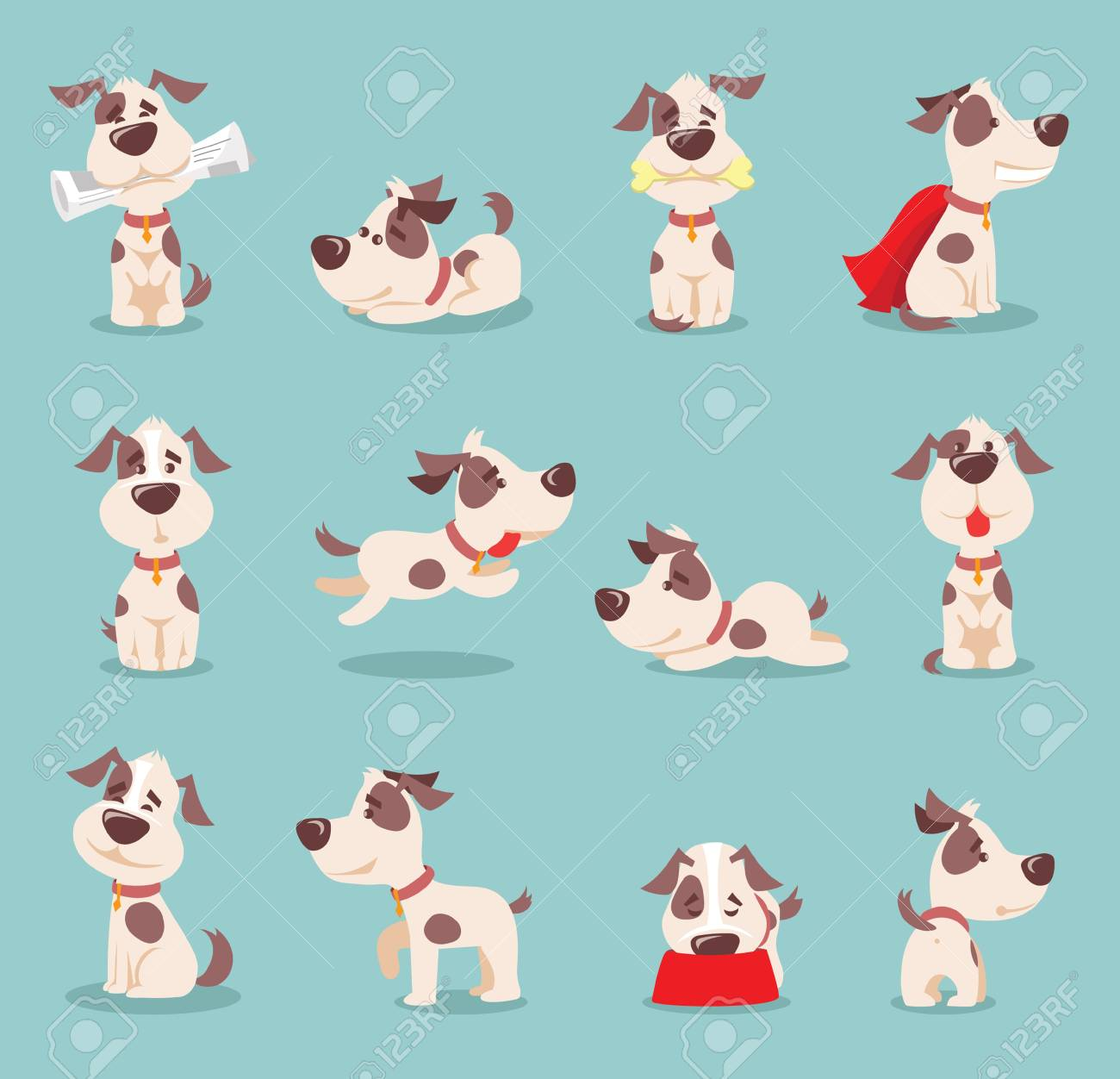Vector Illustration Set Of Cute And Funny Cartoon Little Dogs Puppies Royalty Free Cliparts Vectors And Stock Illustration Image 93082809