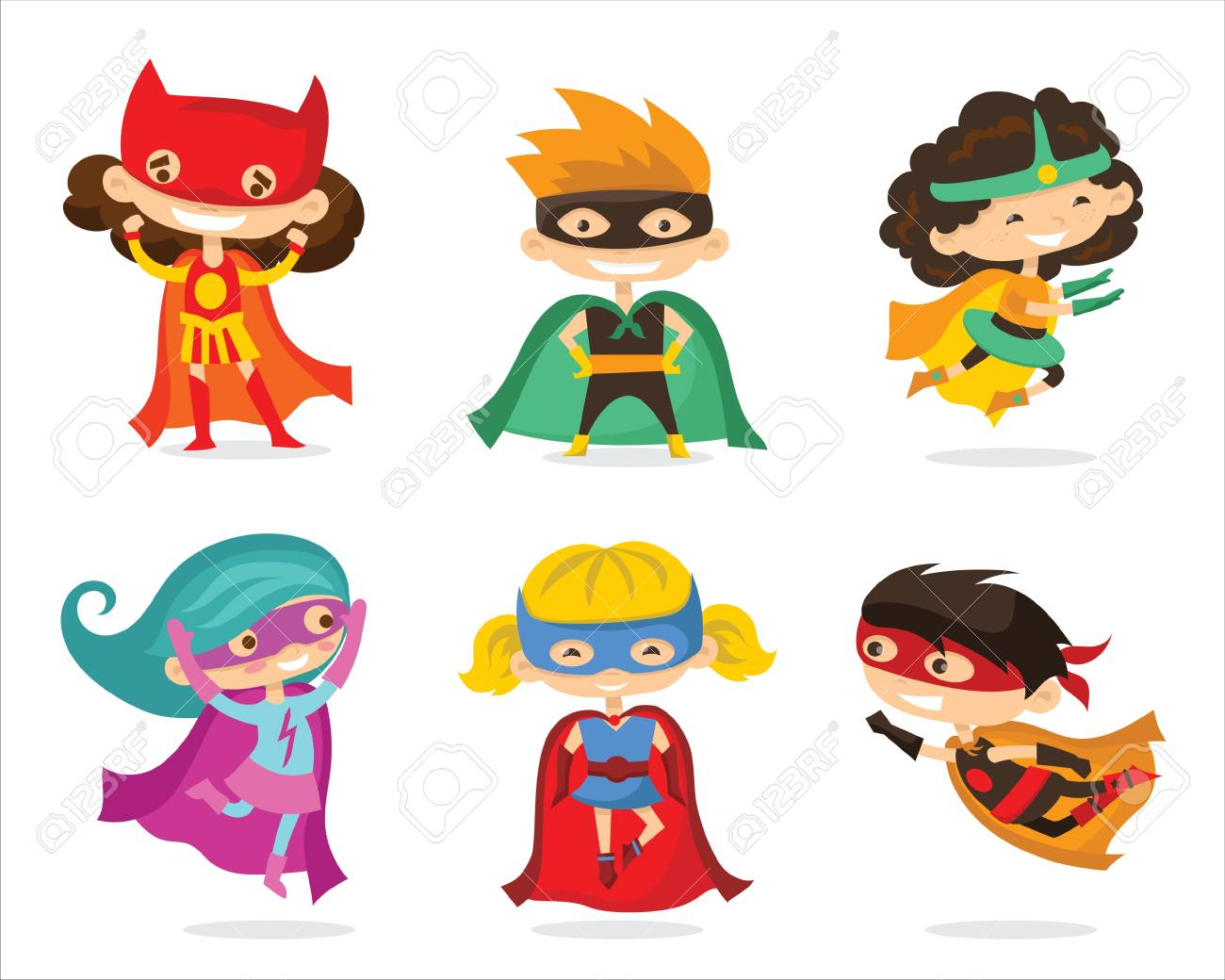 Illustration De Vecteur De Dessin Anime De Super Heros Enfants Clip Art Libres De Droits Vecteurs Et Illustration Image 93215644