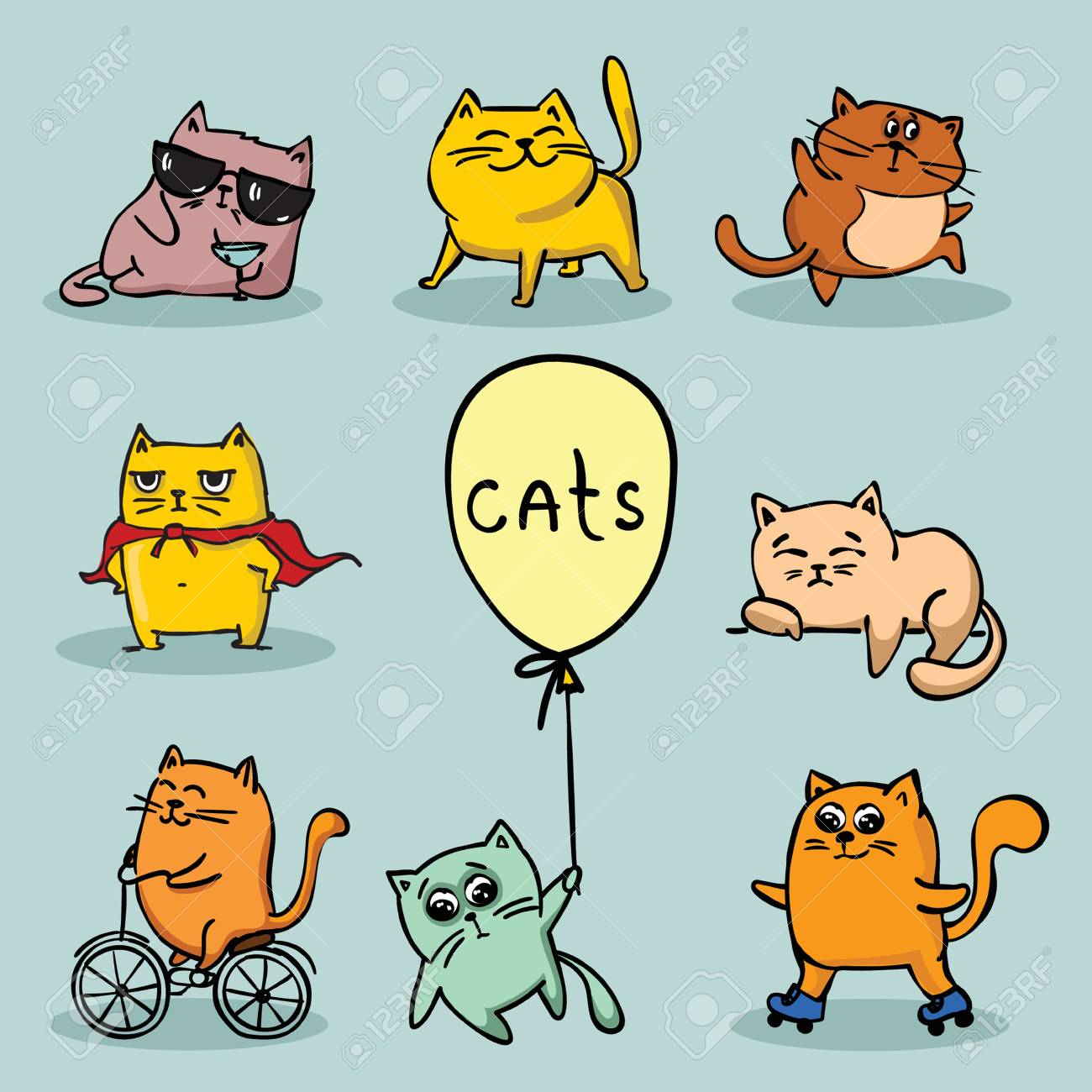 Set Of Vector Cute Funny Cats For Greeting Card Design Royalty Free