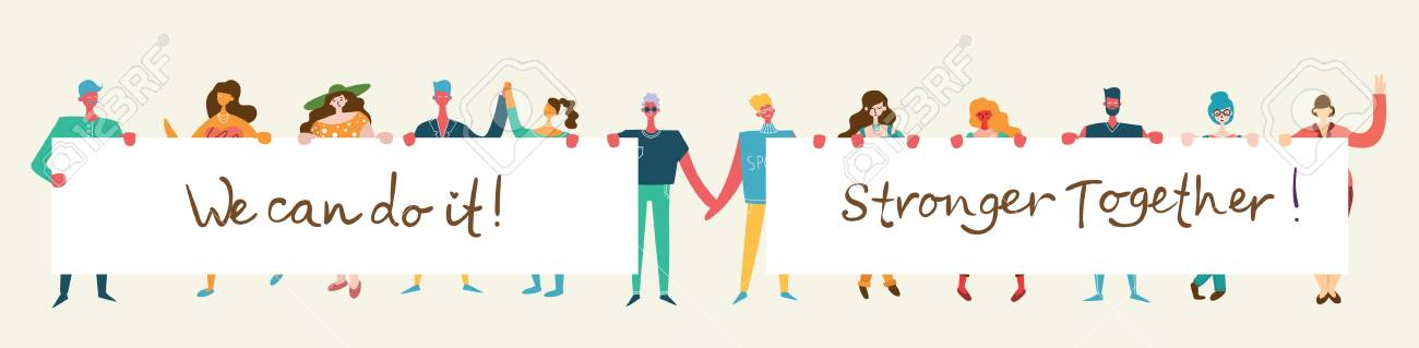 Vector illustration of happy men and women holding banners - 113221120