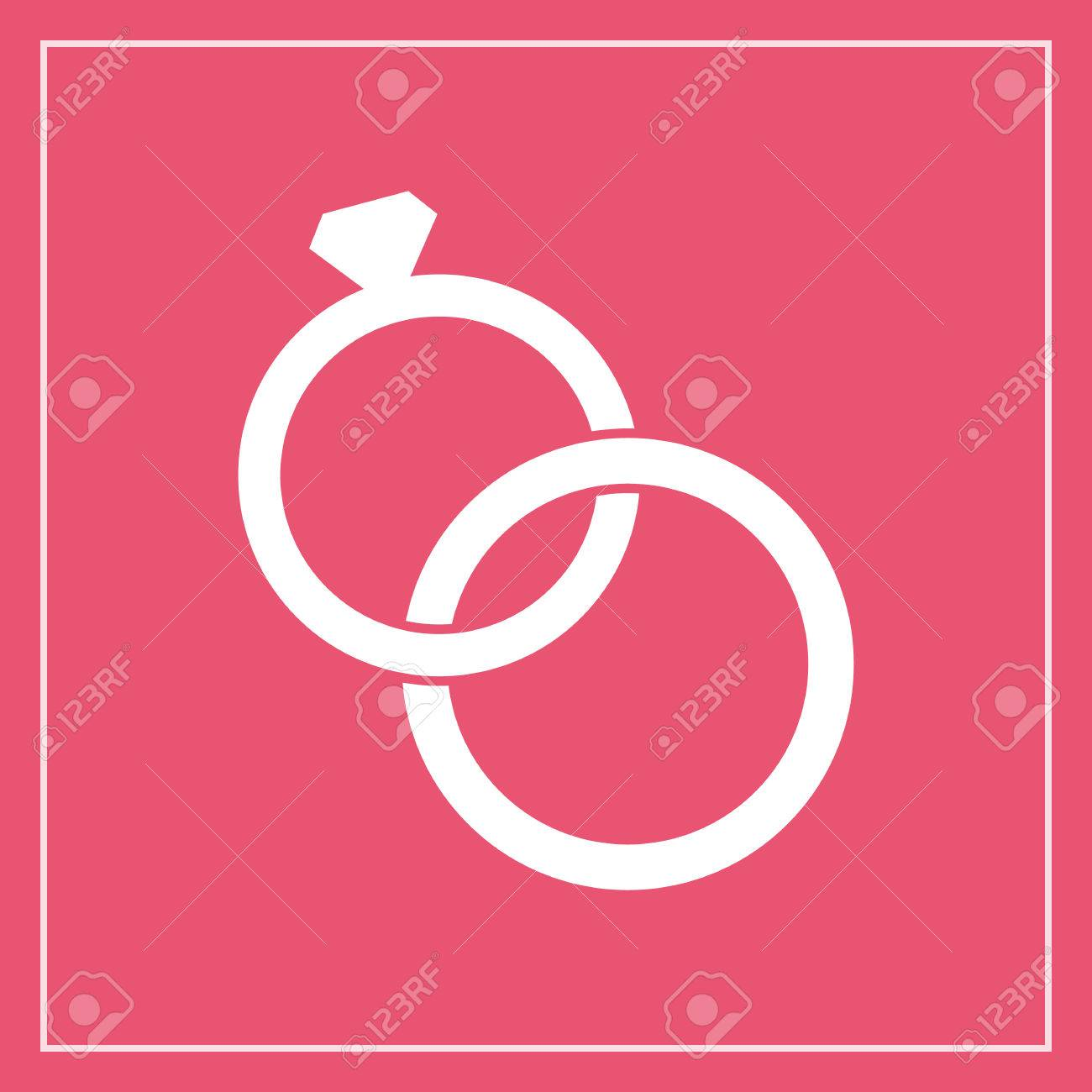 Banque dimages , Mariage anneaux icône, style moderne de design plat minime. Bijoux illustration vectorielle, symbole engagement