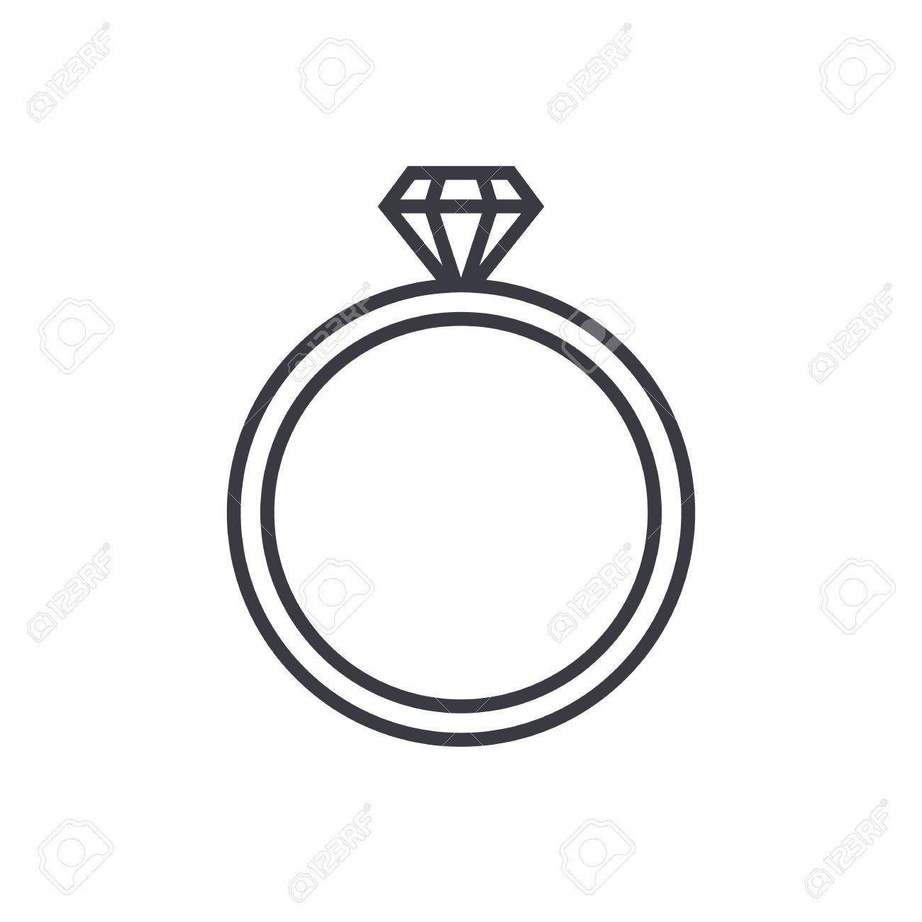 Bague en diamant de mariage icône de contour, style moderne de design plat minime.