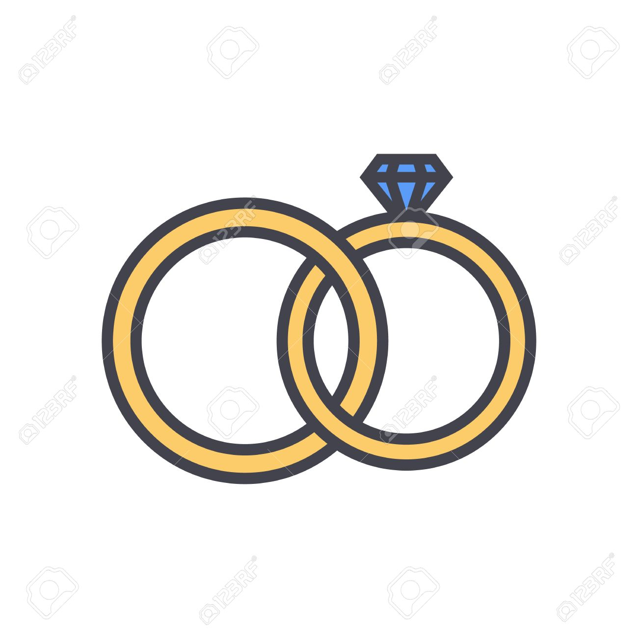 Wedding Rings Outline Color Icon Modern Minimal Flat Design