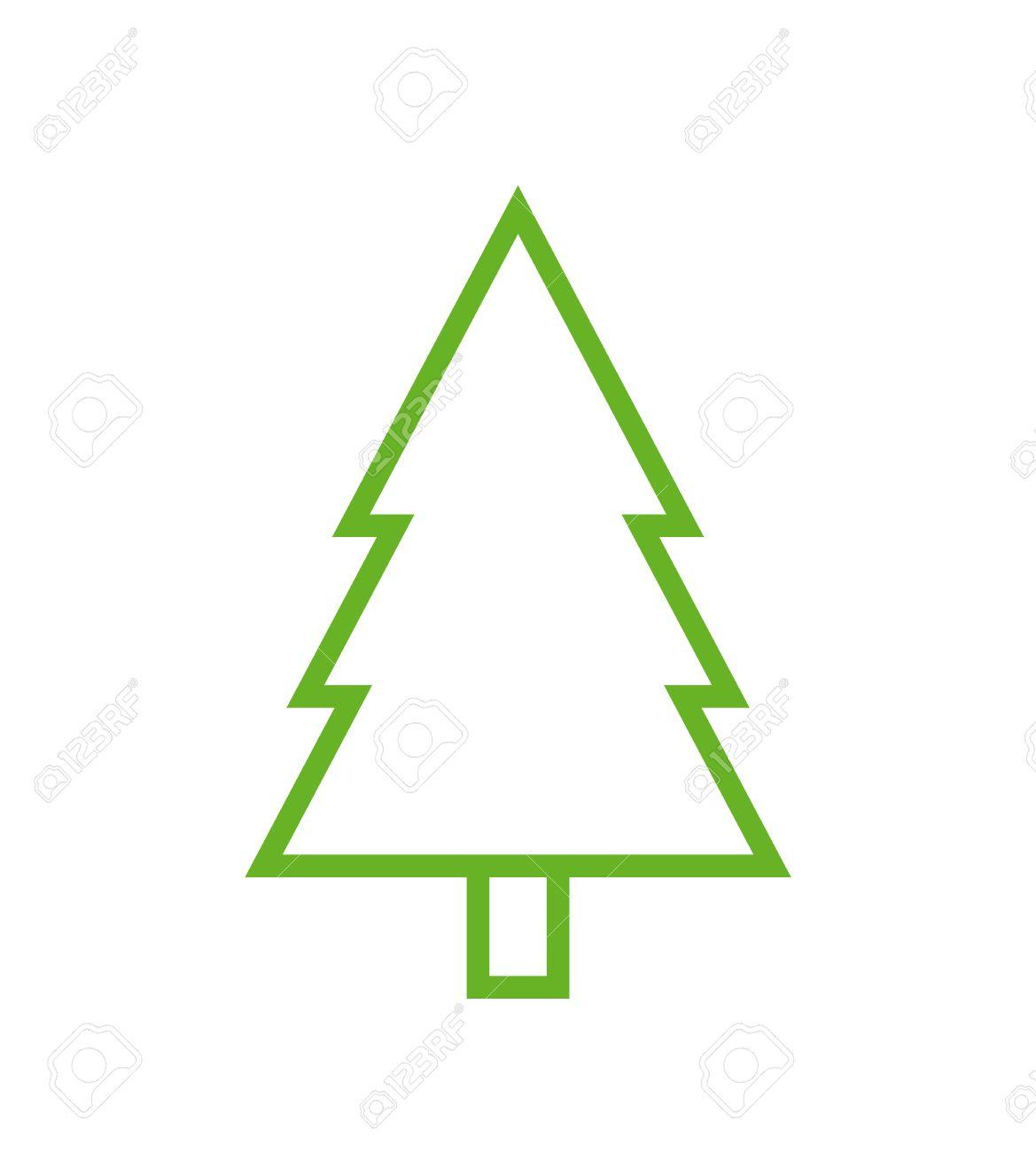 fir tree outline icon modern minimal flat design style spruce