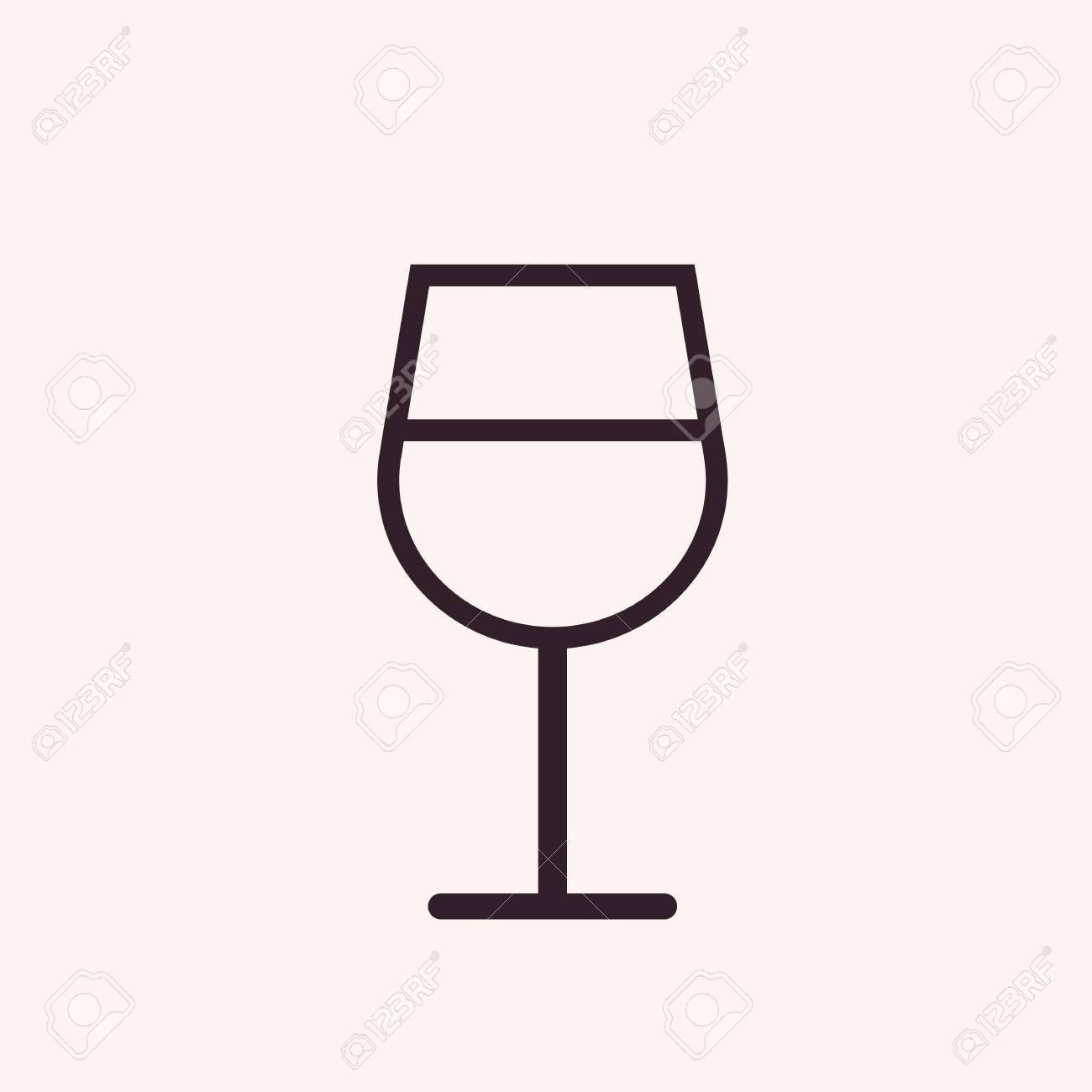 Verre A Vin Moderne icône de contour verre à vin, style moderne design plat minimal