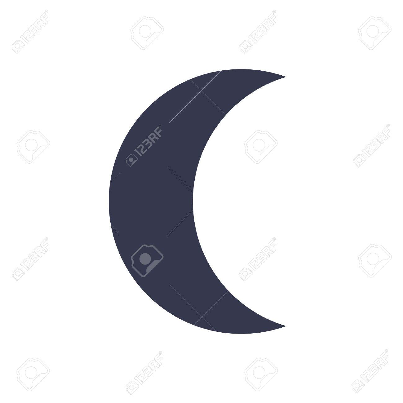 Moon Icon Minimal Flat Design Style Vector Illustration