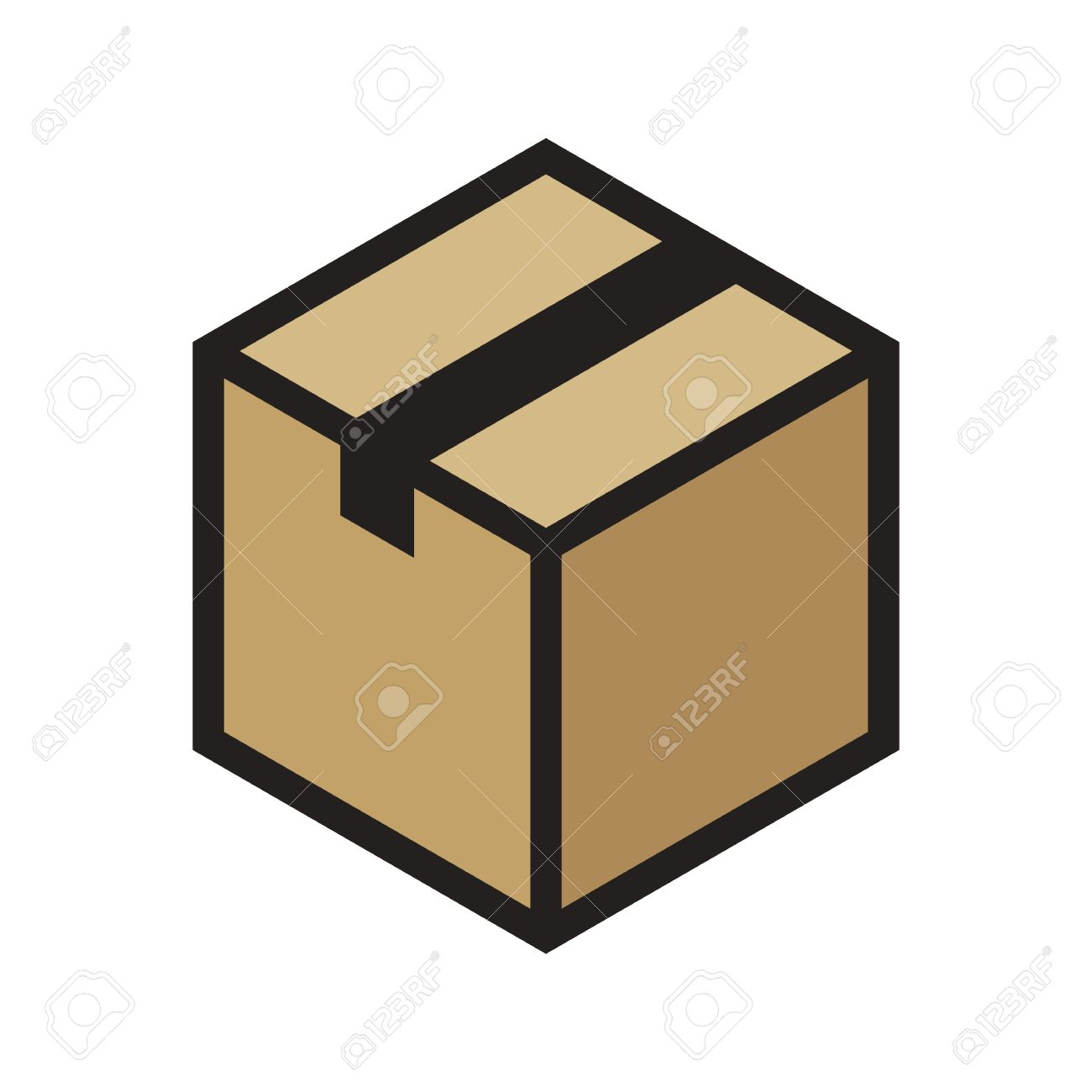 isometric cardboard box outline colored icon modern minimal rh 123rf com box vector icon box vector bmx cranks