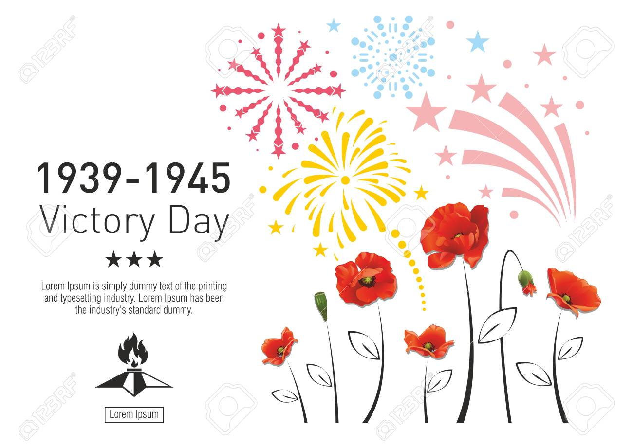 Victory Day in the Second World War. Red poppies on the background of festive fireworks. The text with the stars and eternal fire. - 100505322