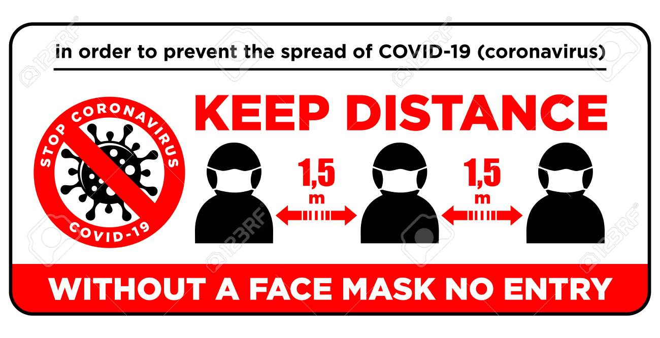Warning sign Without a face mask no entry and keep safe distance of 1.5 m. Front door information plate. Quarantine actions against coronavirus COVID-19. Illustration, vector - 145719680
