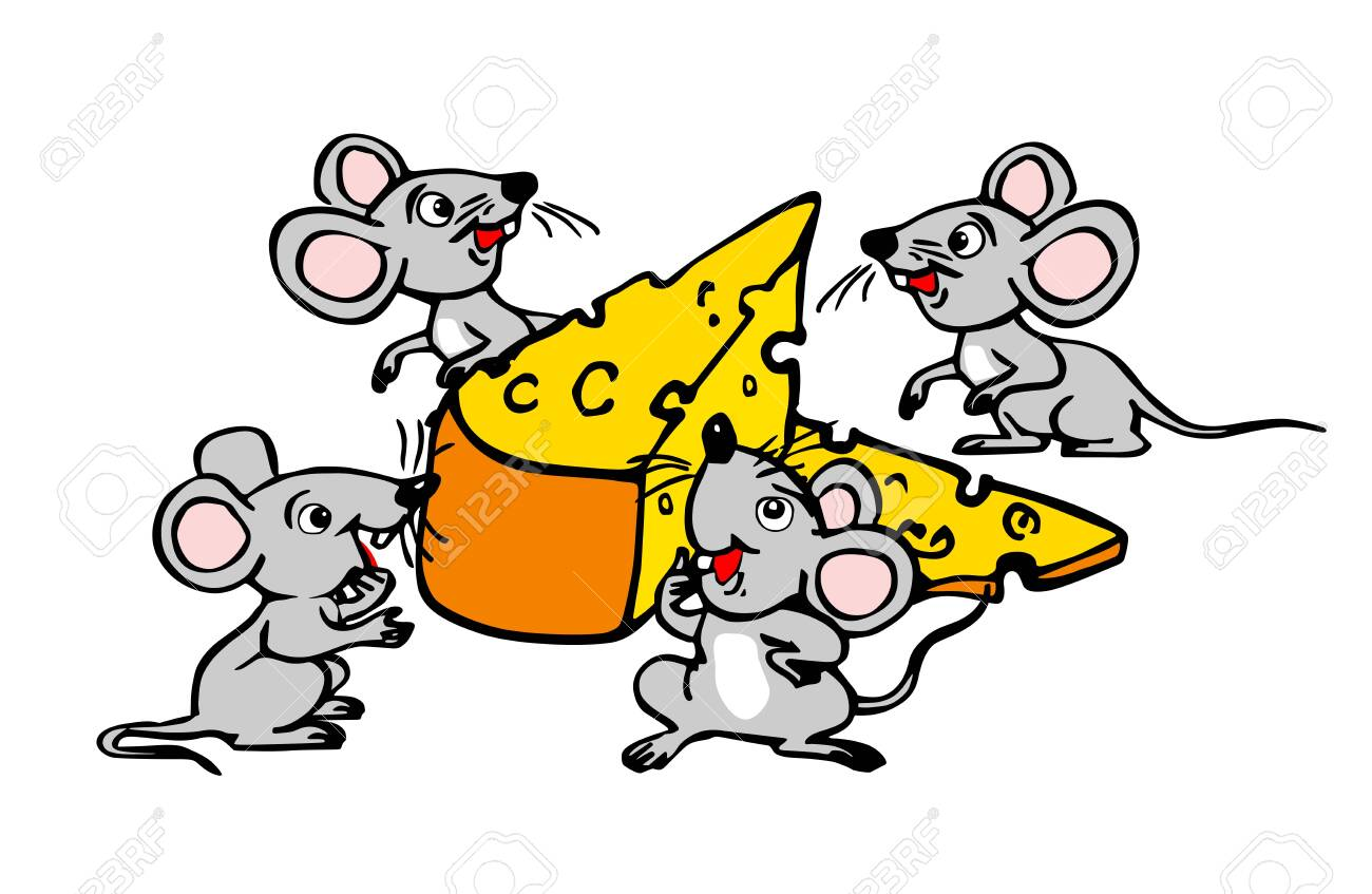Four small mice found a large piece of cheese. Funny vector illustration on transparent background - 151213823