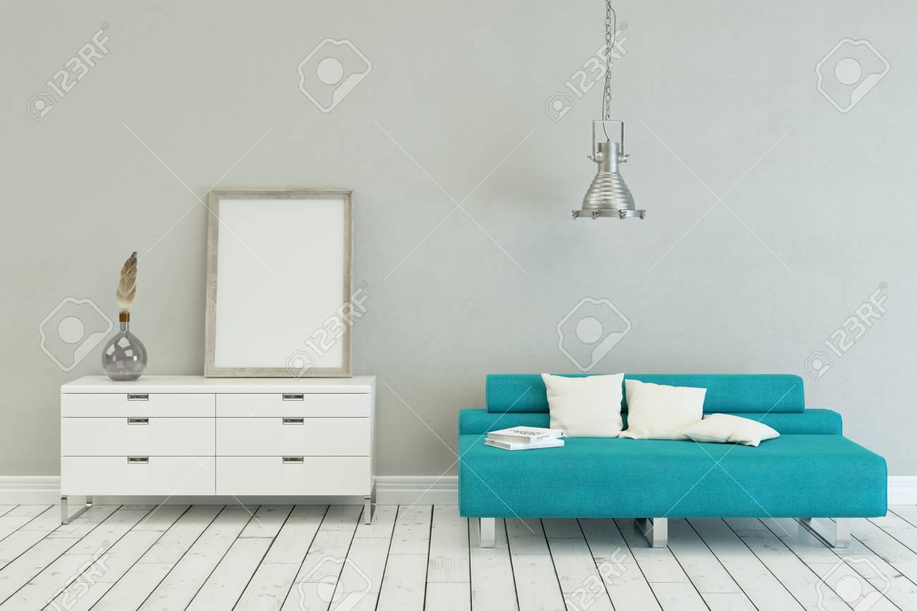 Brilliant Blue Sofa In Modern Scandinavian Interior Design With Canvas Inzonedesignstudio Interior Chair Design Inzonedesignstudiocom