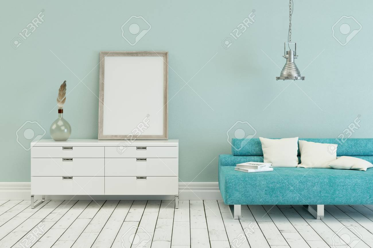 Enjoyable Blue Sofa In Modern Scandinavian Interior Design With Canvas Inzonedesignstudio Interior Chair Design Inzonedesignstudiocom
