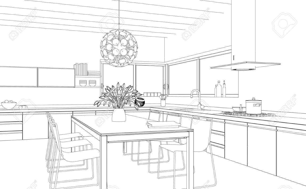 Interior Design Modern Kitchen Drawing Plan 3d Illustration Stock