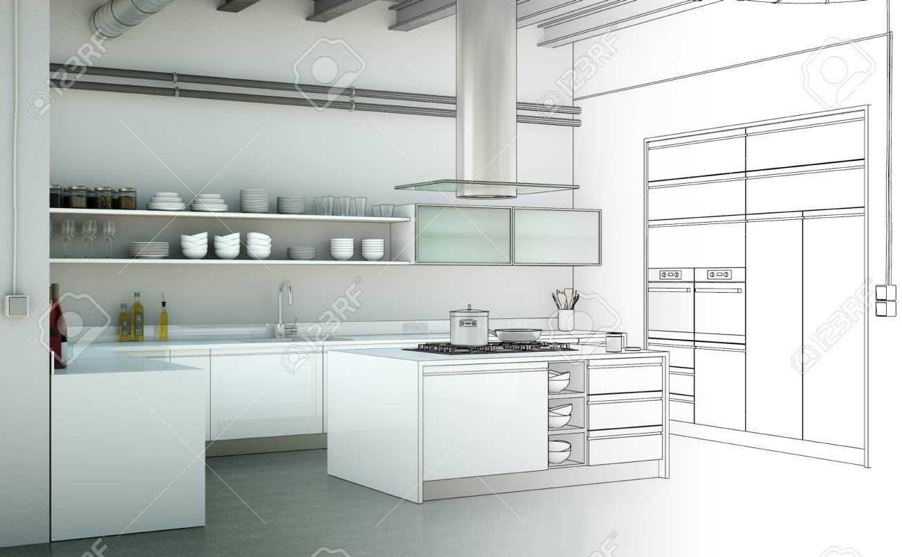 Interior Design Kitchen Drawing Gradation Into Photograph 3d Stock