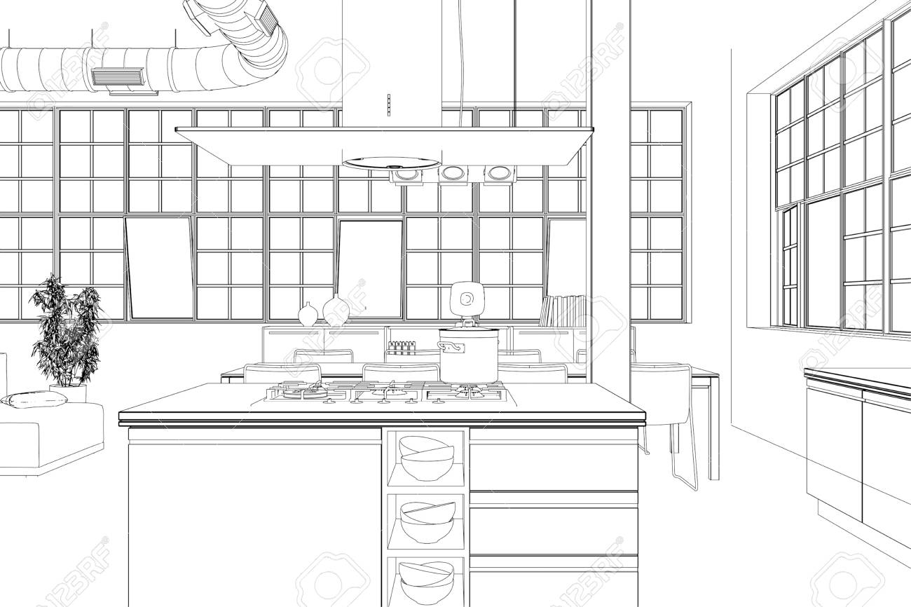 Interior Design Modern Loft Kitchen Drawing 3d Illustration Stock Photo Picture And Royalty Free Image Image 101980839