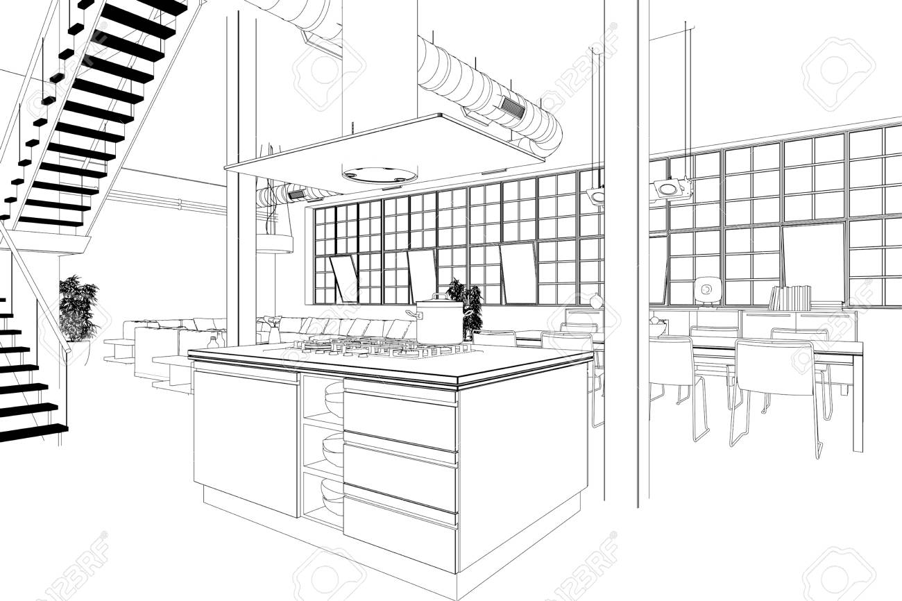 Interior Design Modern Loft Kitchen Drawing 3d Illustration Stock