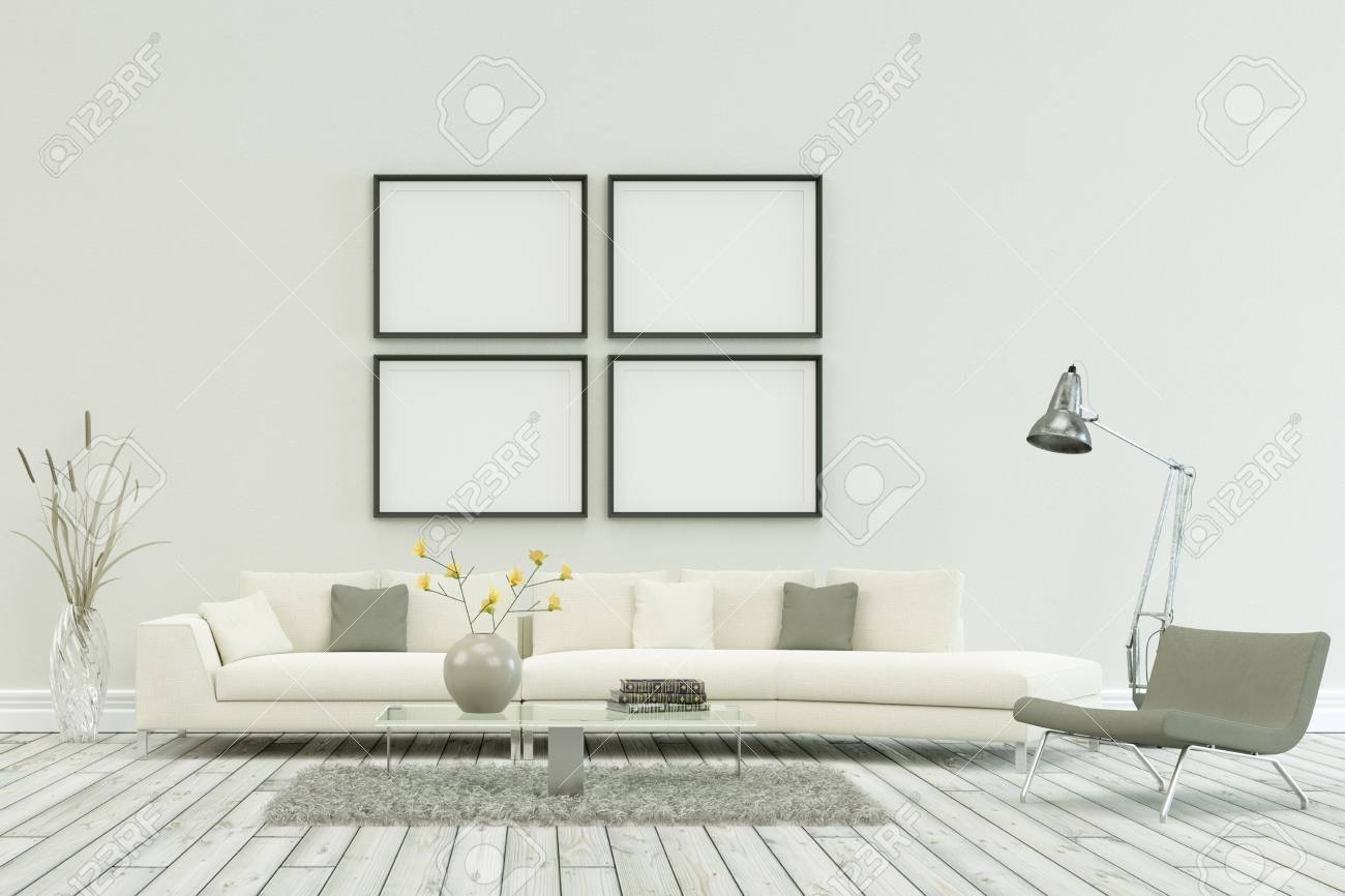 White Sofa In Modern Scandinavian Interior Design Four Frames Stock Photo Picture And Royalty Free Image Image 102345954