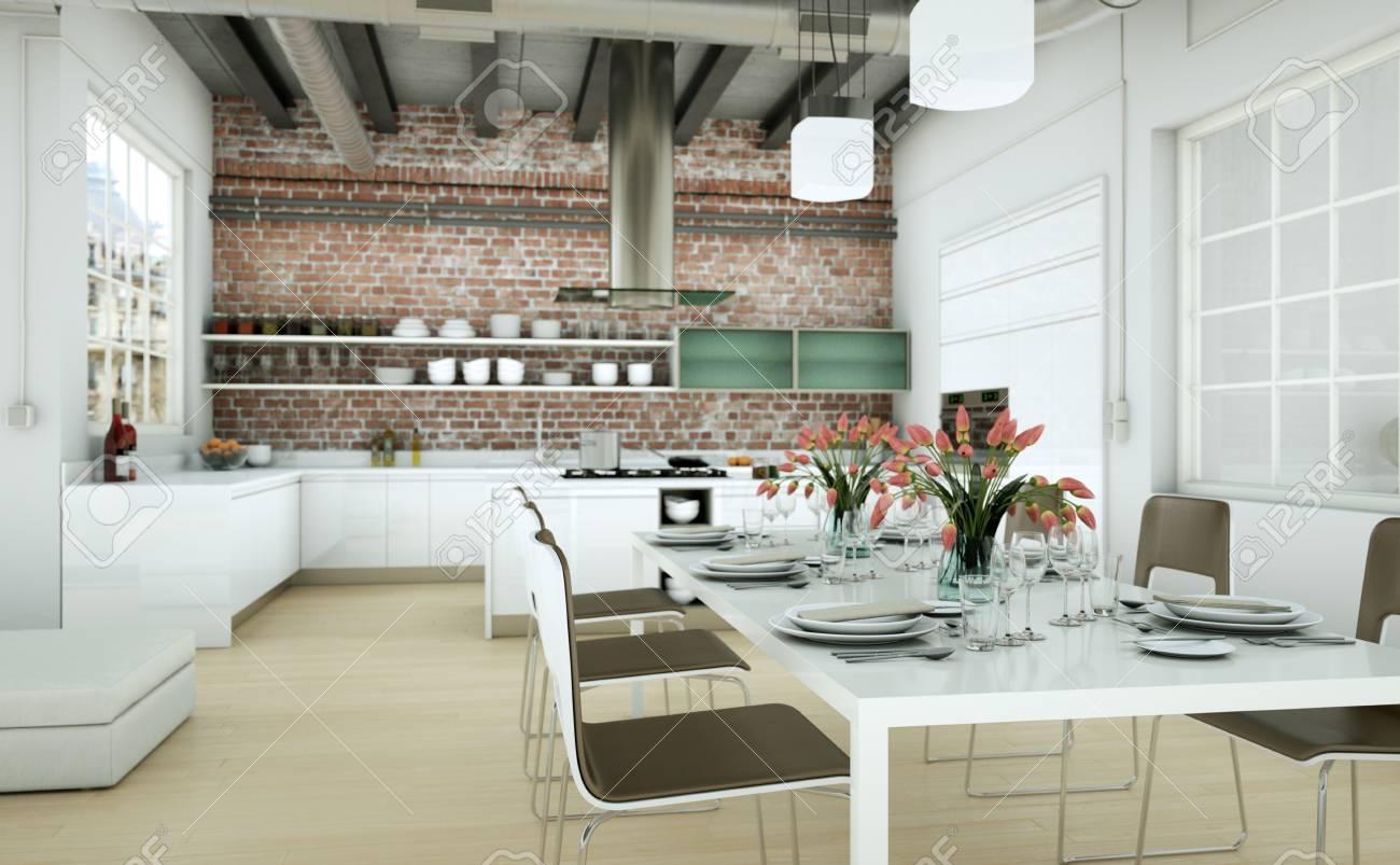Attraktiv Fesselnd Modern Minimalist Living Room Interior In Loft Design Style With  Sofas 3d Rendering Standard Bild
