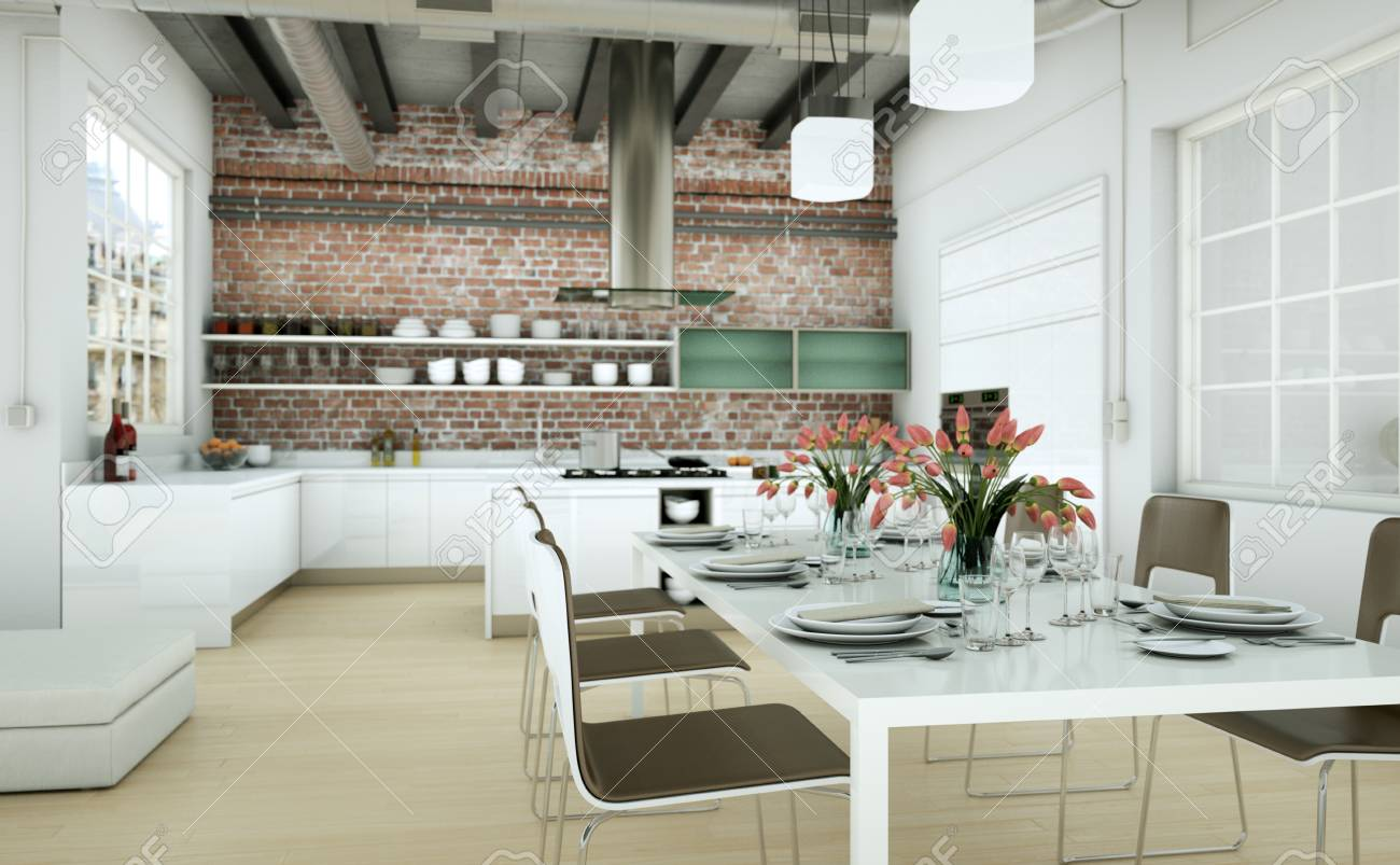 Fesselnd Modern Minimalist Living Room Interior In Loft Design Style With  Sofas 3d Rendering Standard Bild