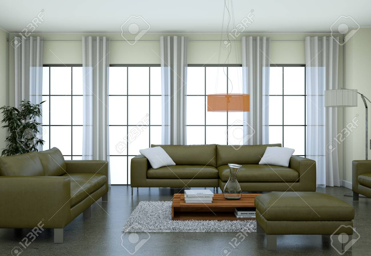 Modern Minimalist Living Room Interior In Loft Design Style With Sofas 3d  Rendering Standard Bild